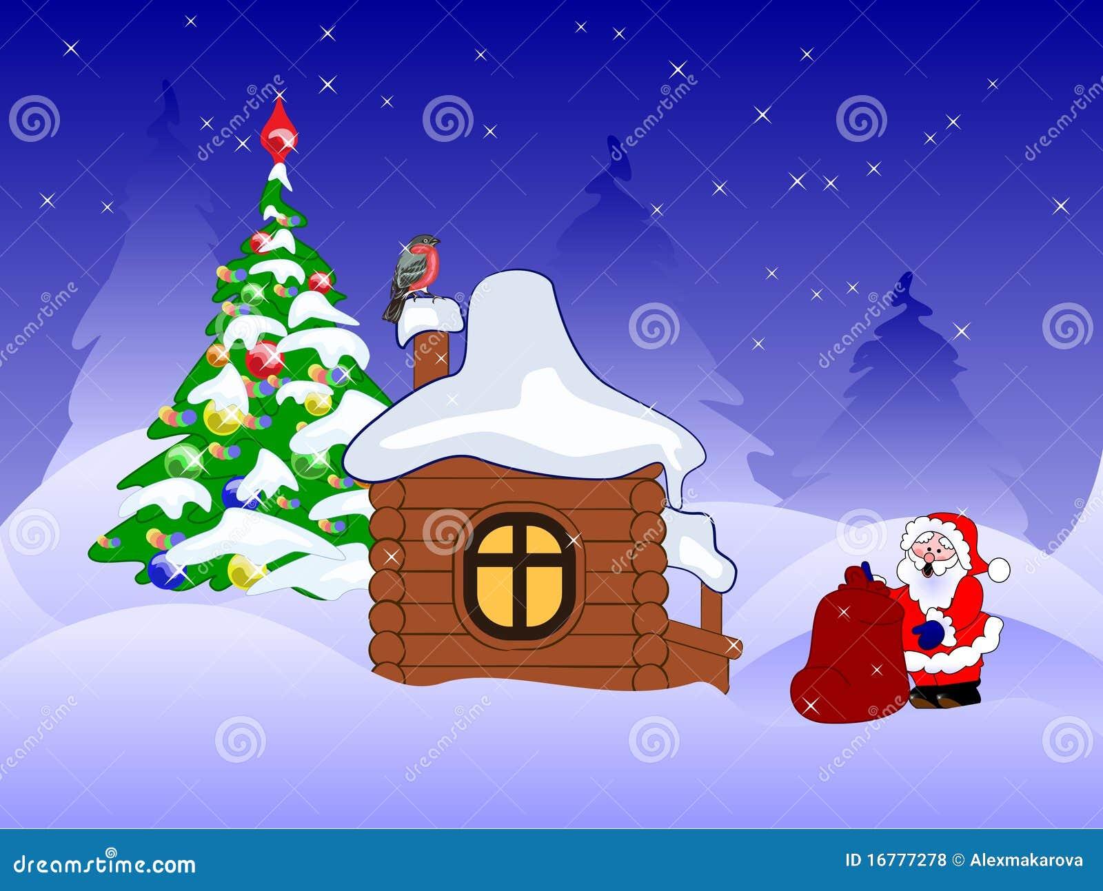 weihnachtsmann mit geschenken nahe hölzernem haus
