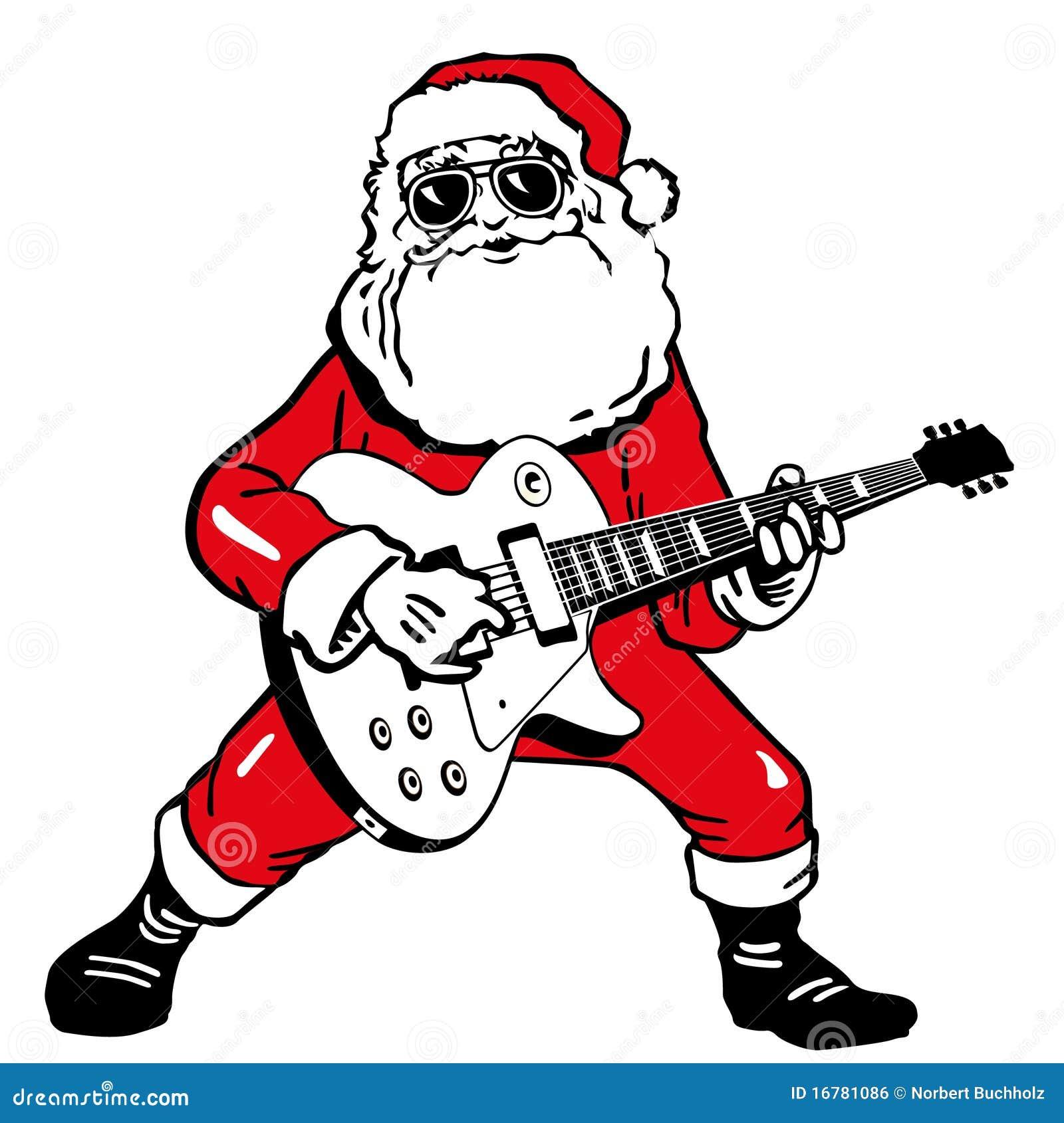 Weihnachtsmann mit Gitarre vektor abbildung. Illustration von ...