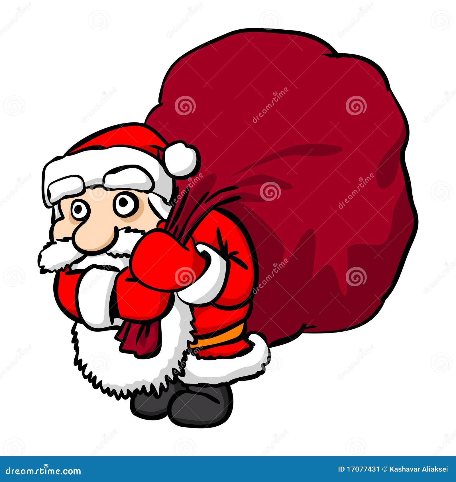 weihnachtsmann mit großem sack stockbild  bild 17077431
