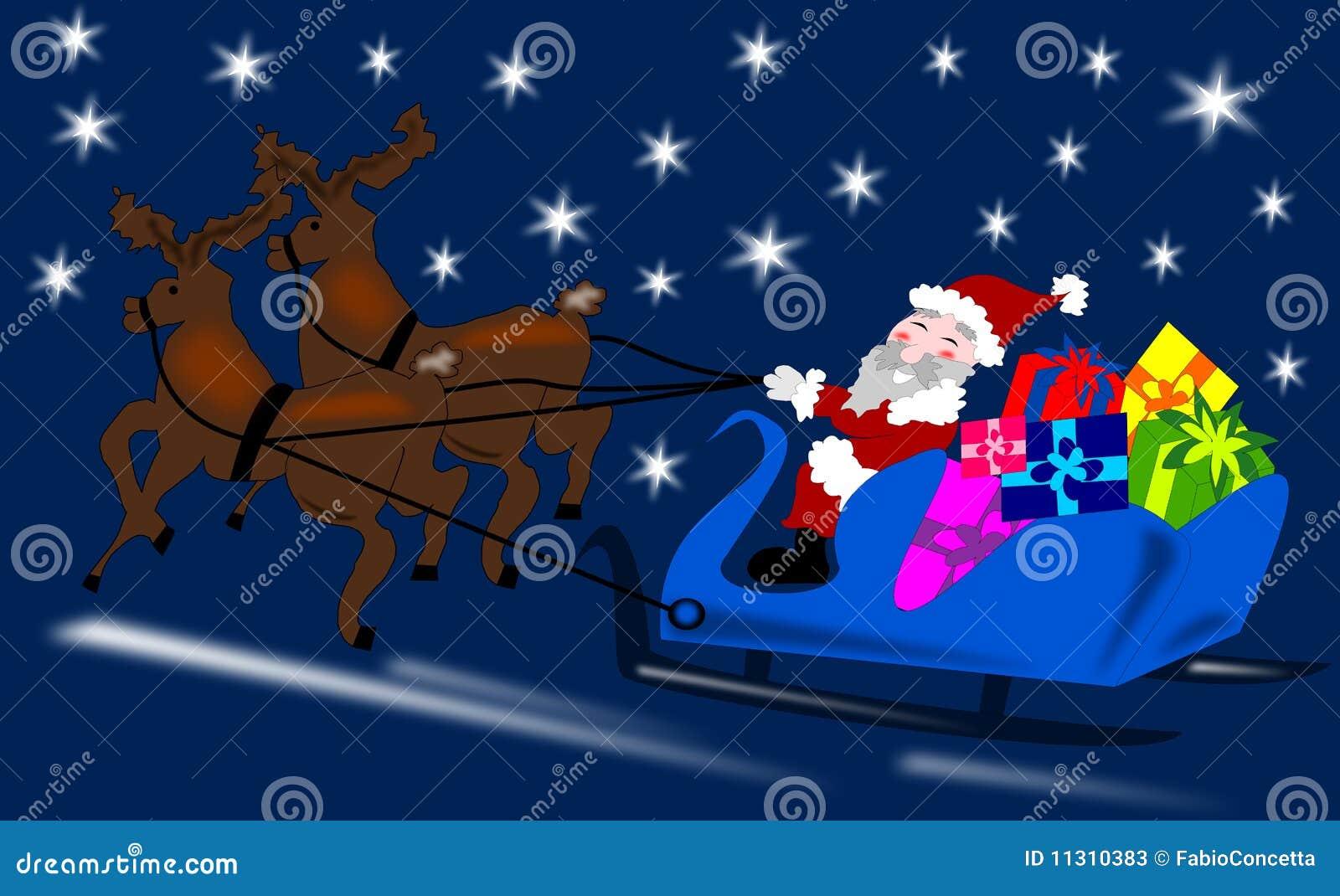 Weihnachtsmann mit Ren