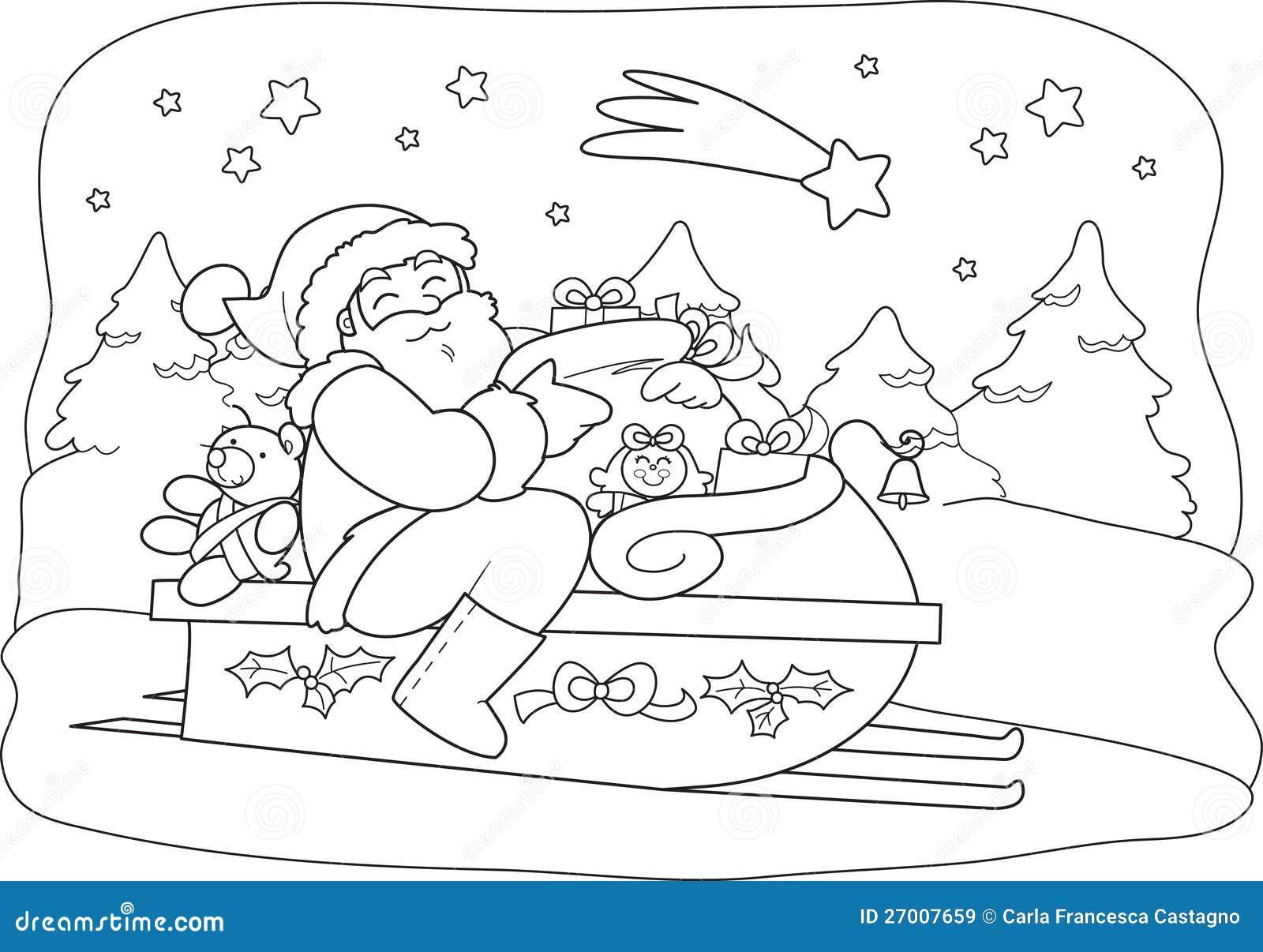 weihnachtsmann mit sack im schlitten vektor abbildung