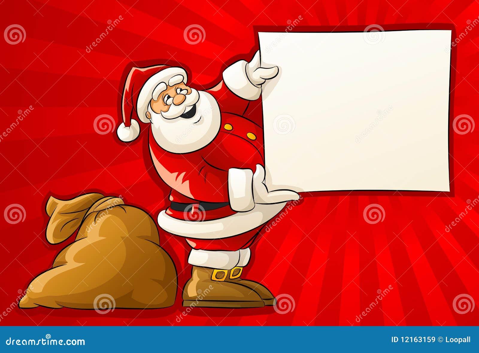 weihnachtsmann mit sack und unbelegtem grußpapier vektor