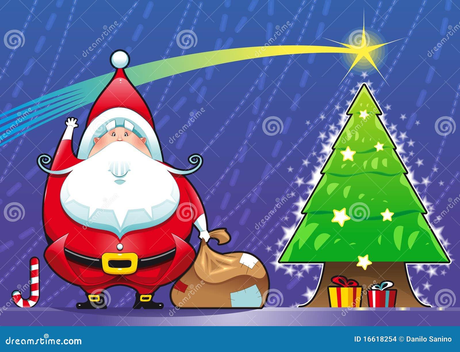 Weihnachtsmann mit Weihnachtsbaum.
