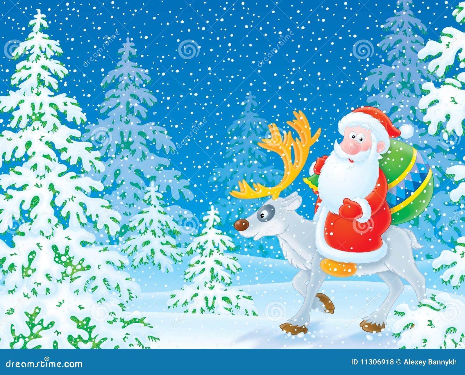 Weihnachtsmann-Reiten auf dem Ren im Winter f