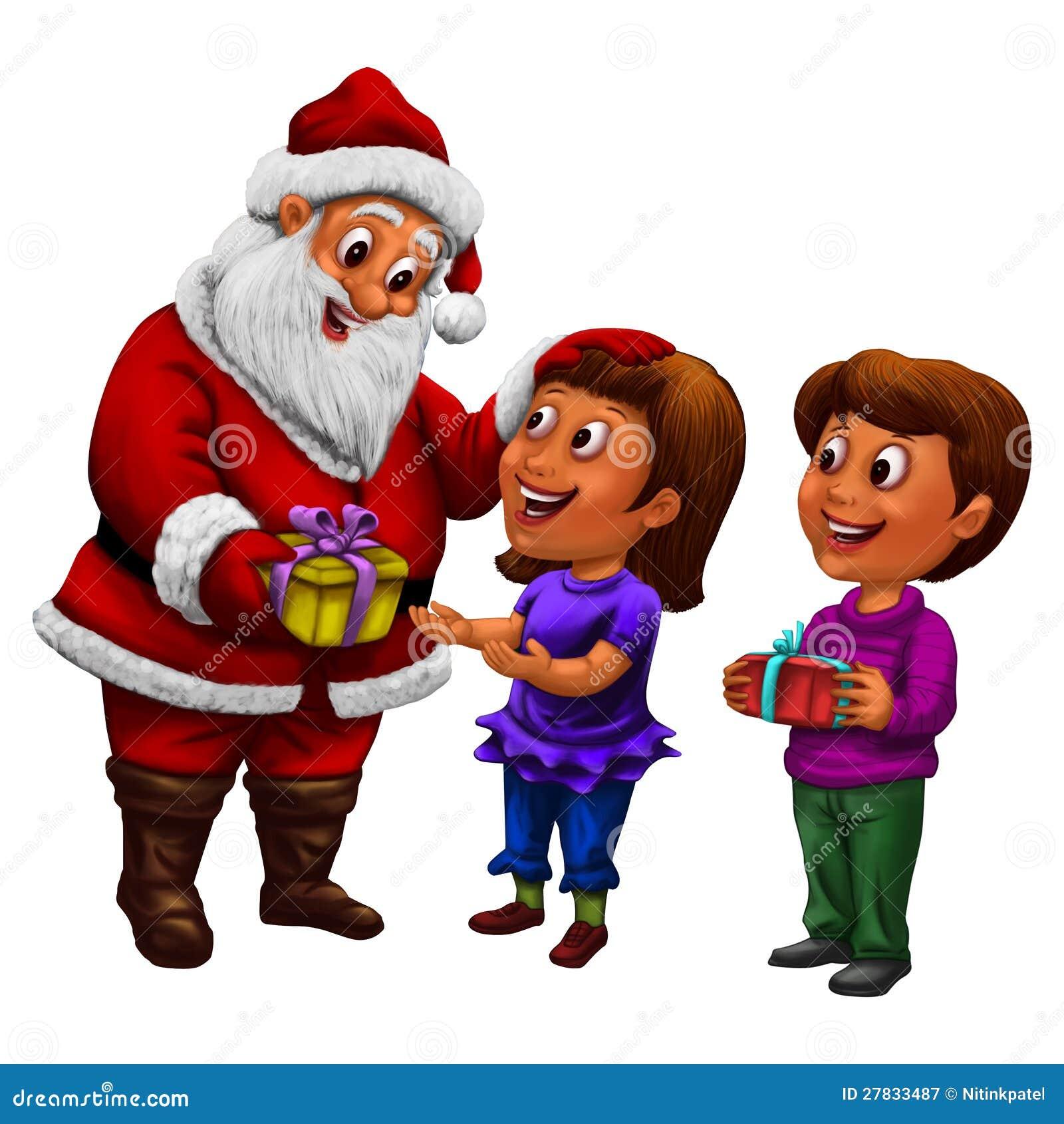 weihnachtsmann verteilende geschenke zu den kindern mit. Black Bedroom Furniture Sets. Home Design Ideas