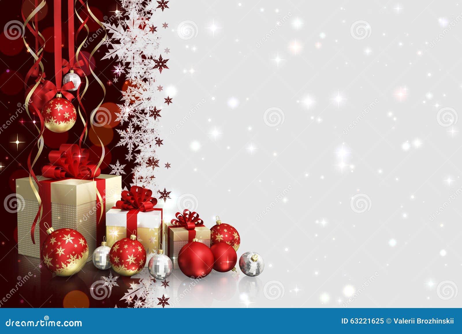 weihnachtsmotiv mit geschenkboxen und glaskugeln und freier raum f r text stockbild bild von