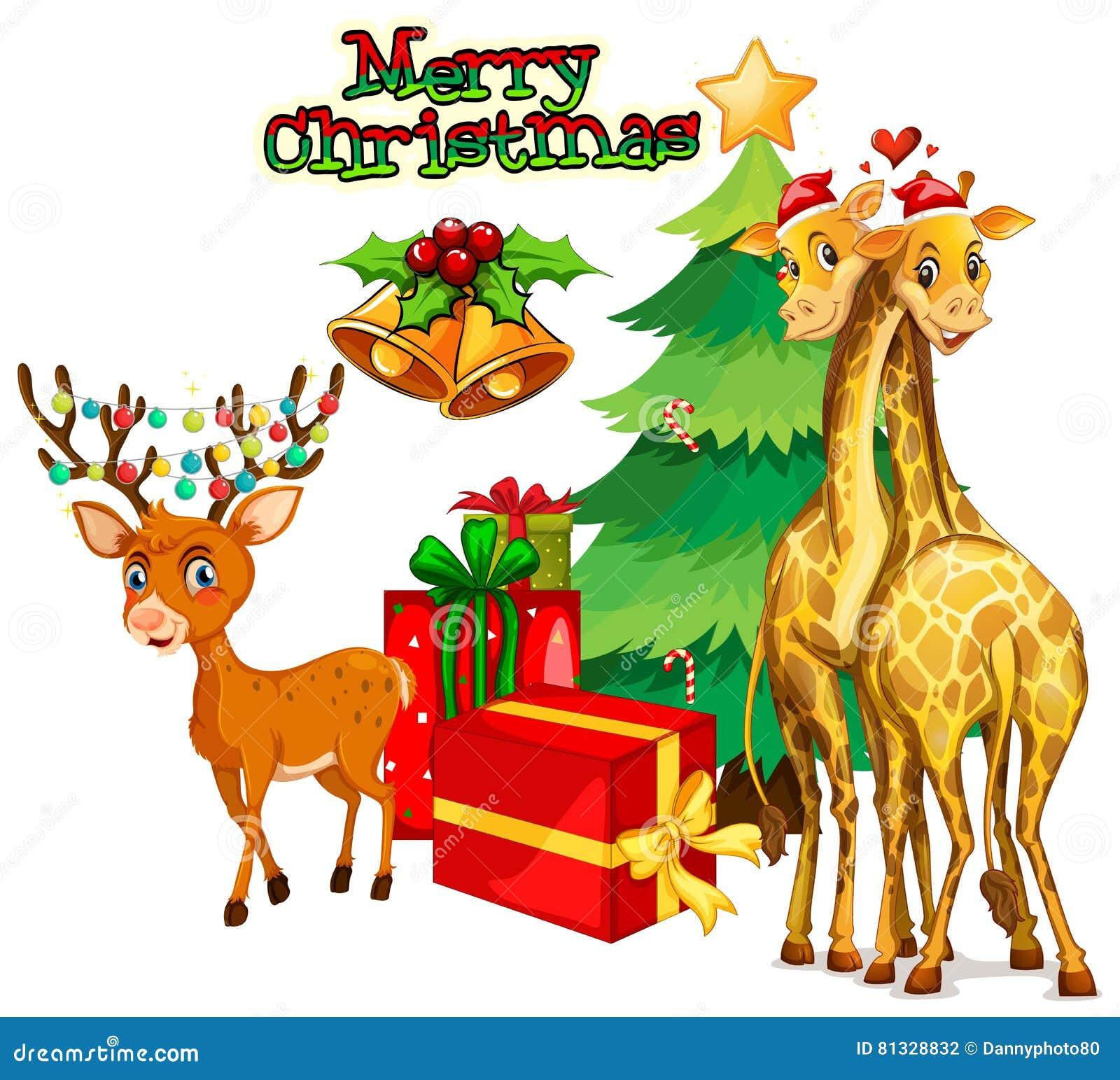 Weihnachtsmotive Zum Kopieren.Weihnachtsmotiv Mit Rotwild Und Giraffe Vektor Abbildung