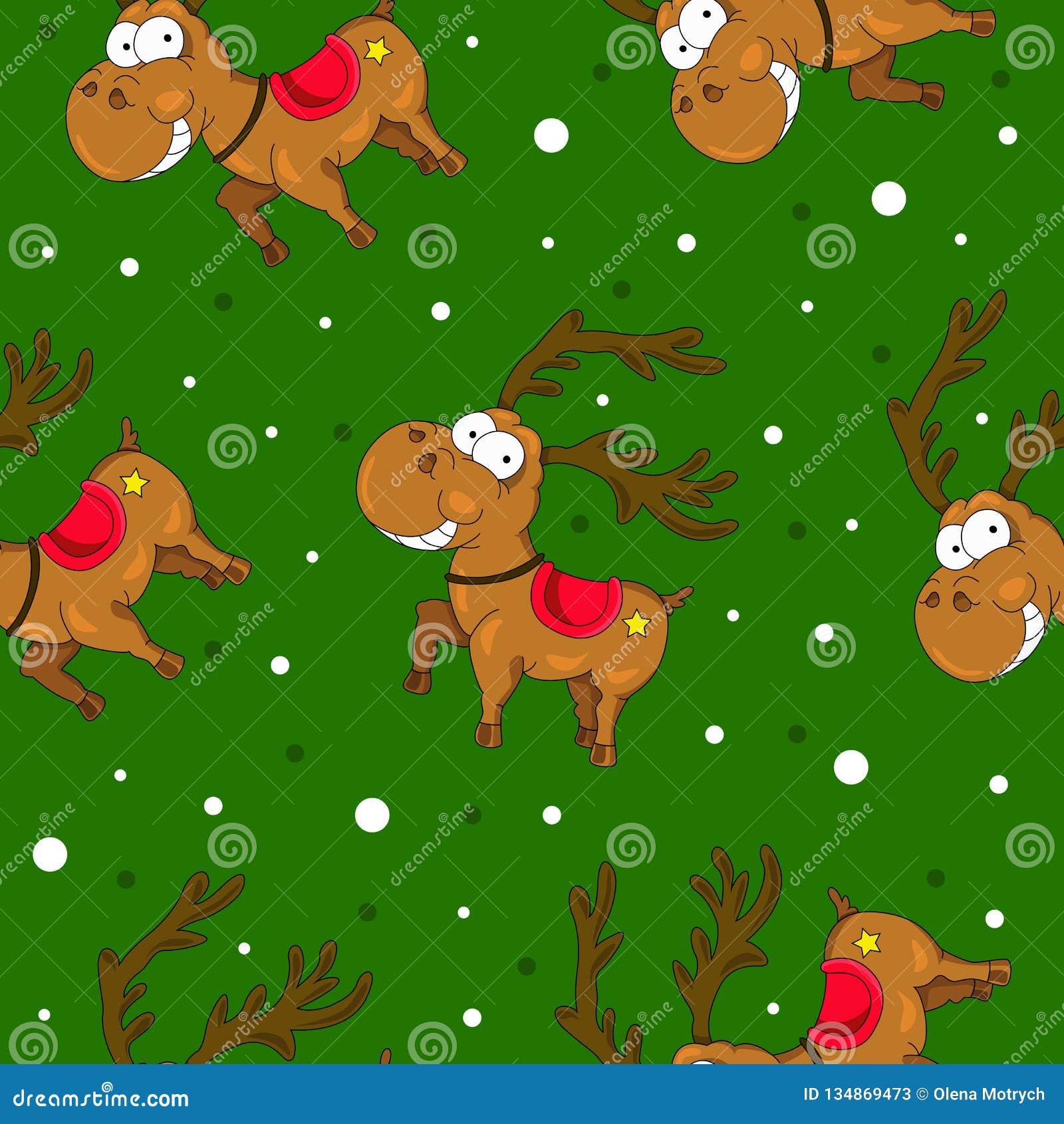 Weihnachtsnahtlose Muster mit netten Rotwild und Schnee