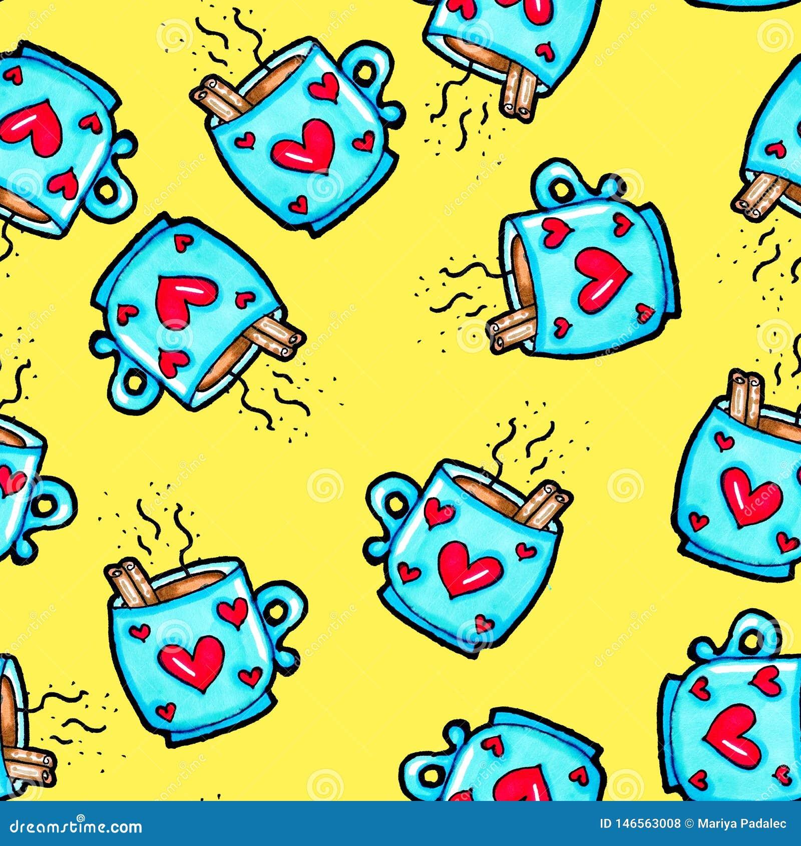 Weihnachtsnahtloses Muster eigenh?ndig gezeichnet Blaue Schale mit Herzen auf einem gelben Hintergrund Kaffee, Kakao, Zimt Neues