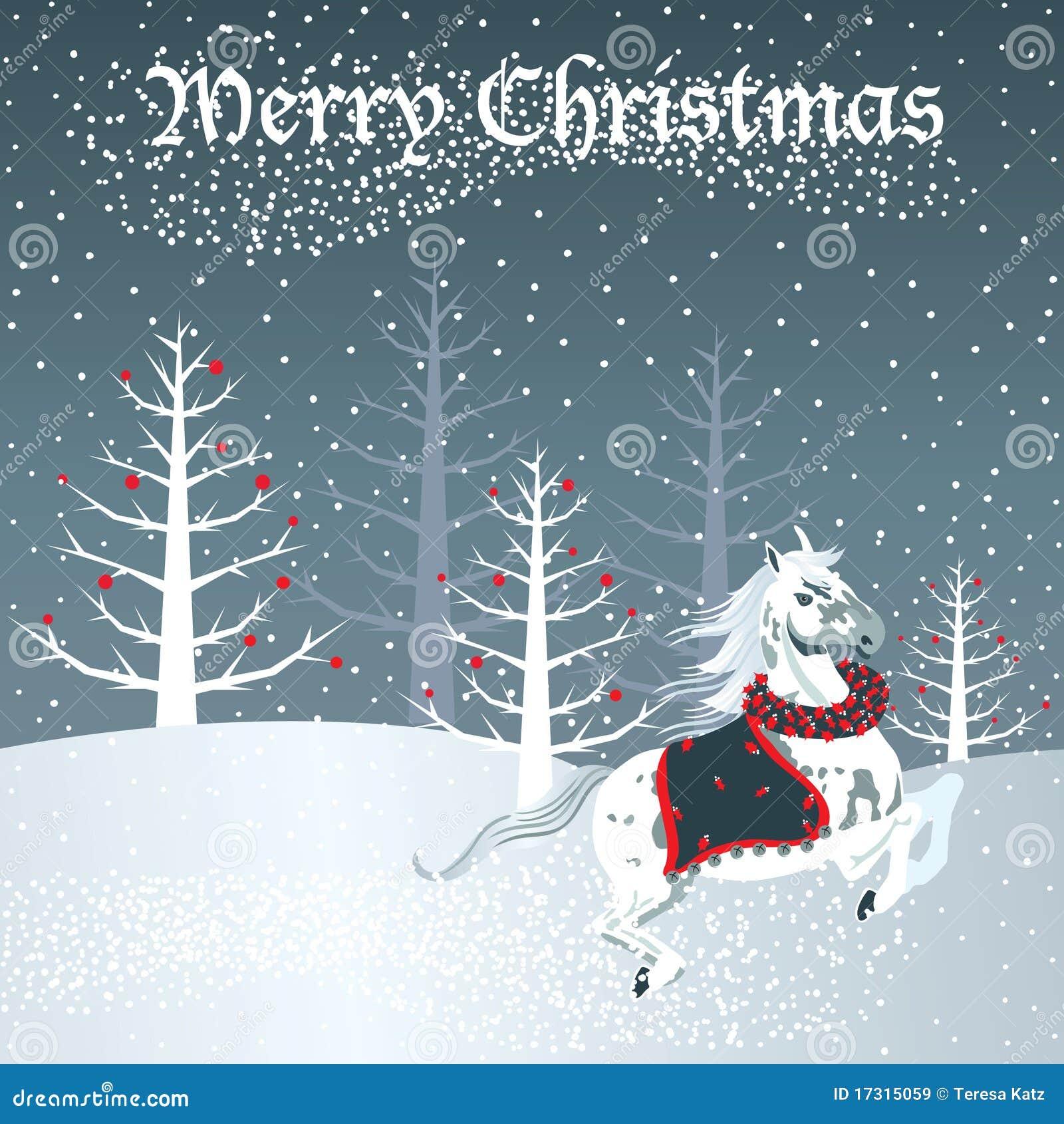Weihnachtspferd Mit Schneeszene Vektor Abbildung - Illustration von ...