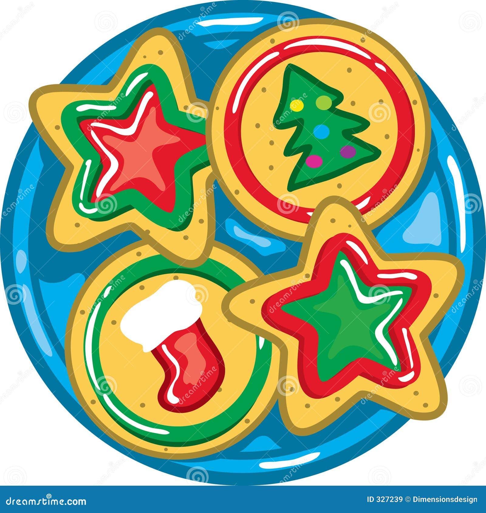 Weihnachtsplätzchen Clipart.Weihnachtsplätzchen Auf Einer Platte Vektor Abbildung Illustration