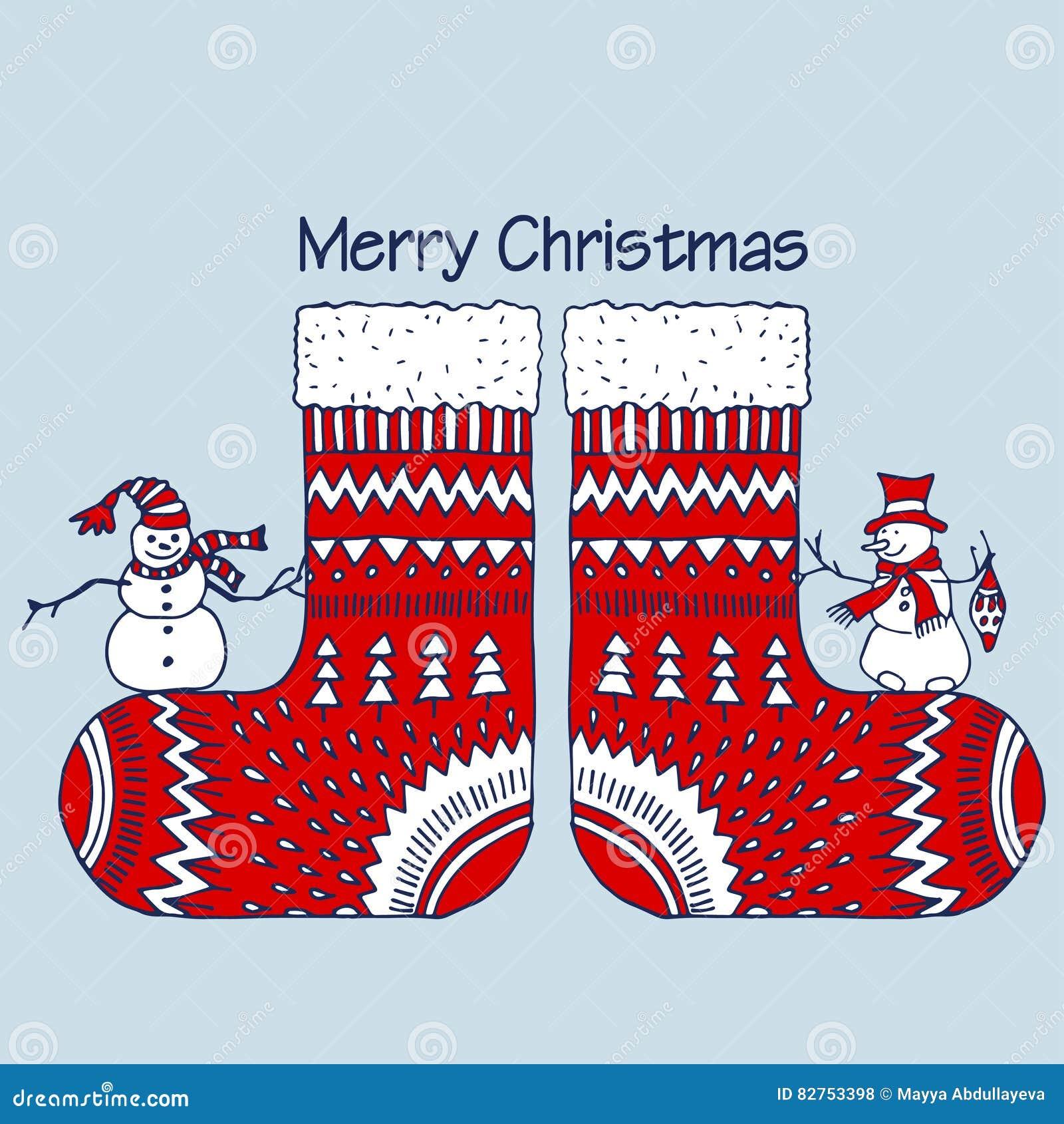 weihnachtsrote socken mit schneemann vektor abbildung illustration von farben abbildung 82753398. Black Bedroom Furniture Sets. Home Design Ideas