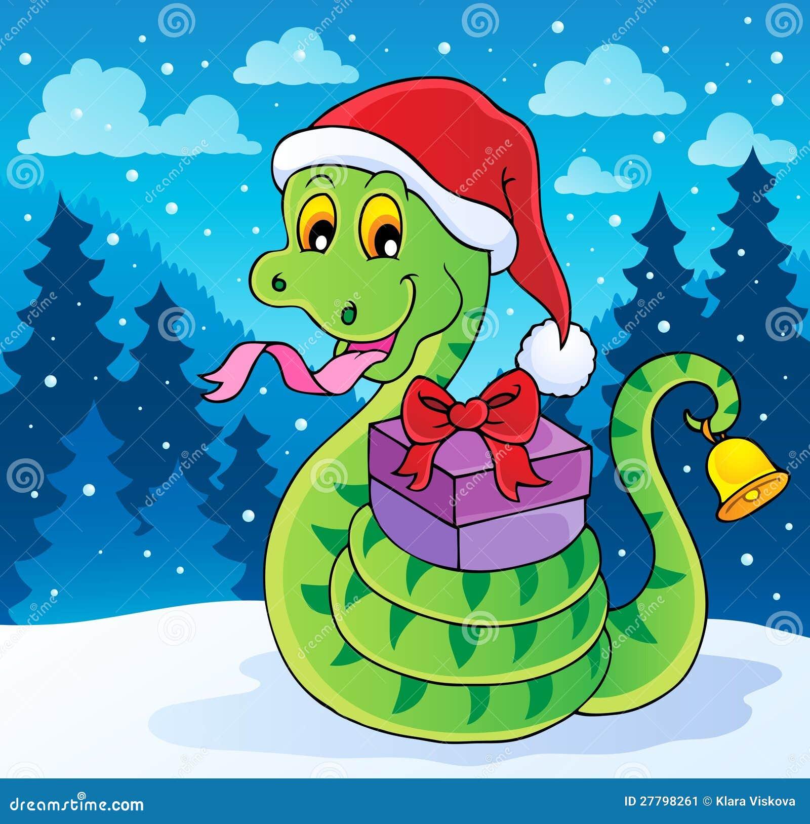 Weihnachtsschlange-Themabild Vektor Abbildung - Illustration von ...