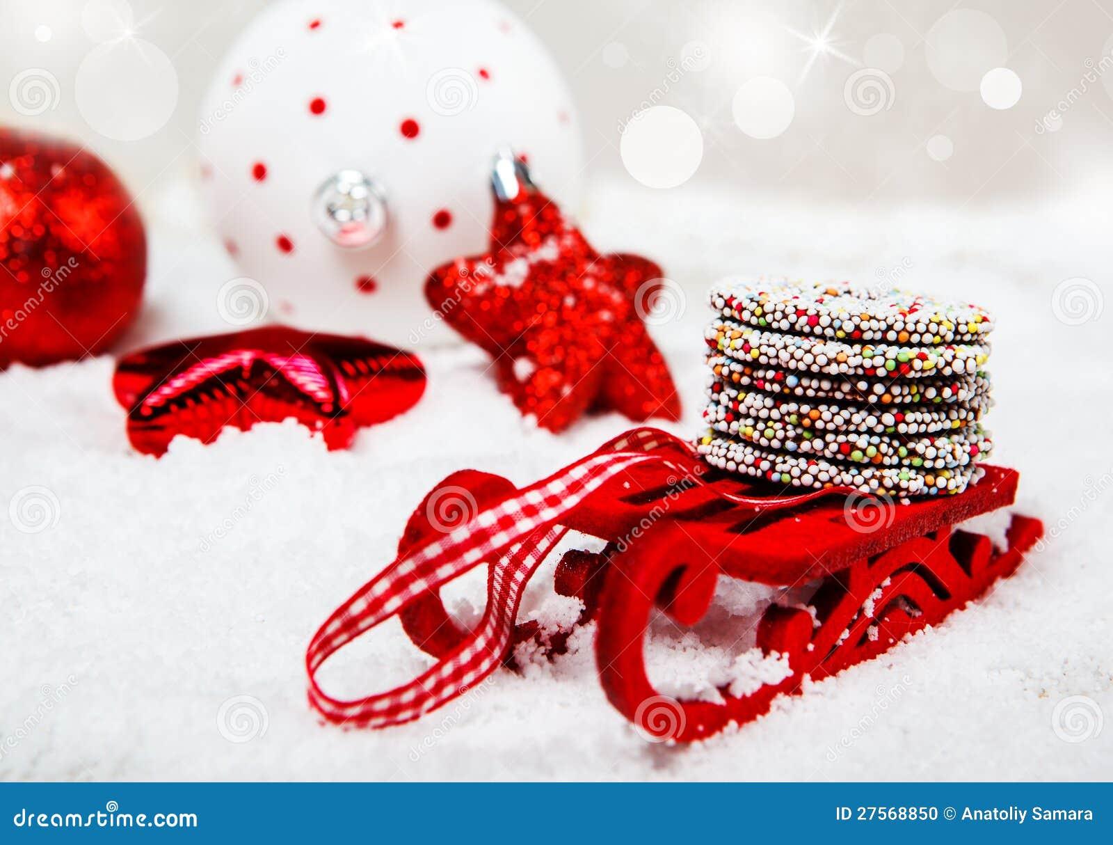 Weihnachtsschlitten stockfoto. Bild von jahreszeit, feier - 27568850