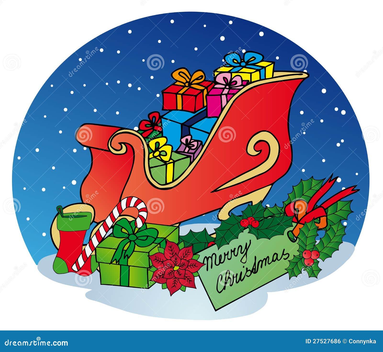 Weihnachtsschlitten Mit Geschenken Vektor Abbildung - Illustration ...
