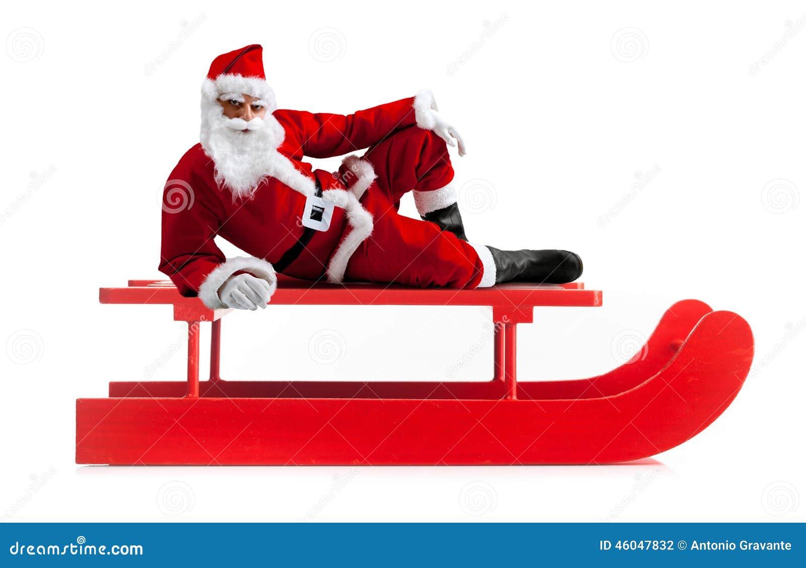 Weihnachtsschlitten Mit Santa Claus Stockfoto - Bild von klaus, weiß ...