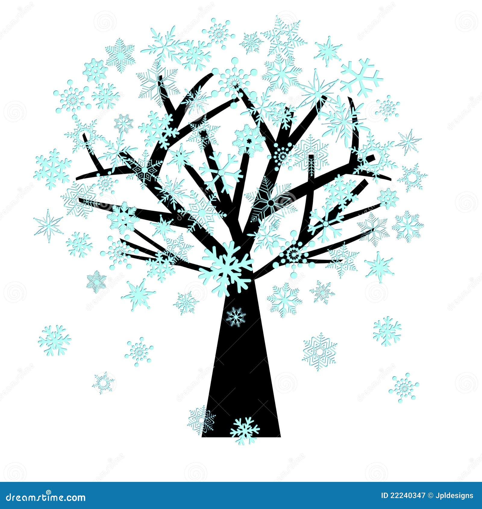 Weihnachtsschneeflocken auf Baum im Winter
