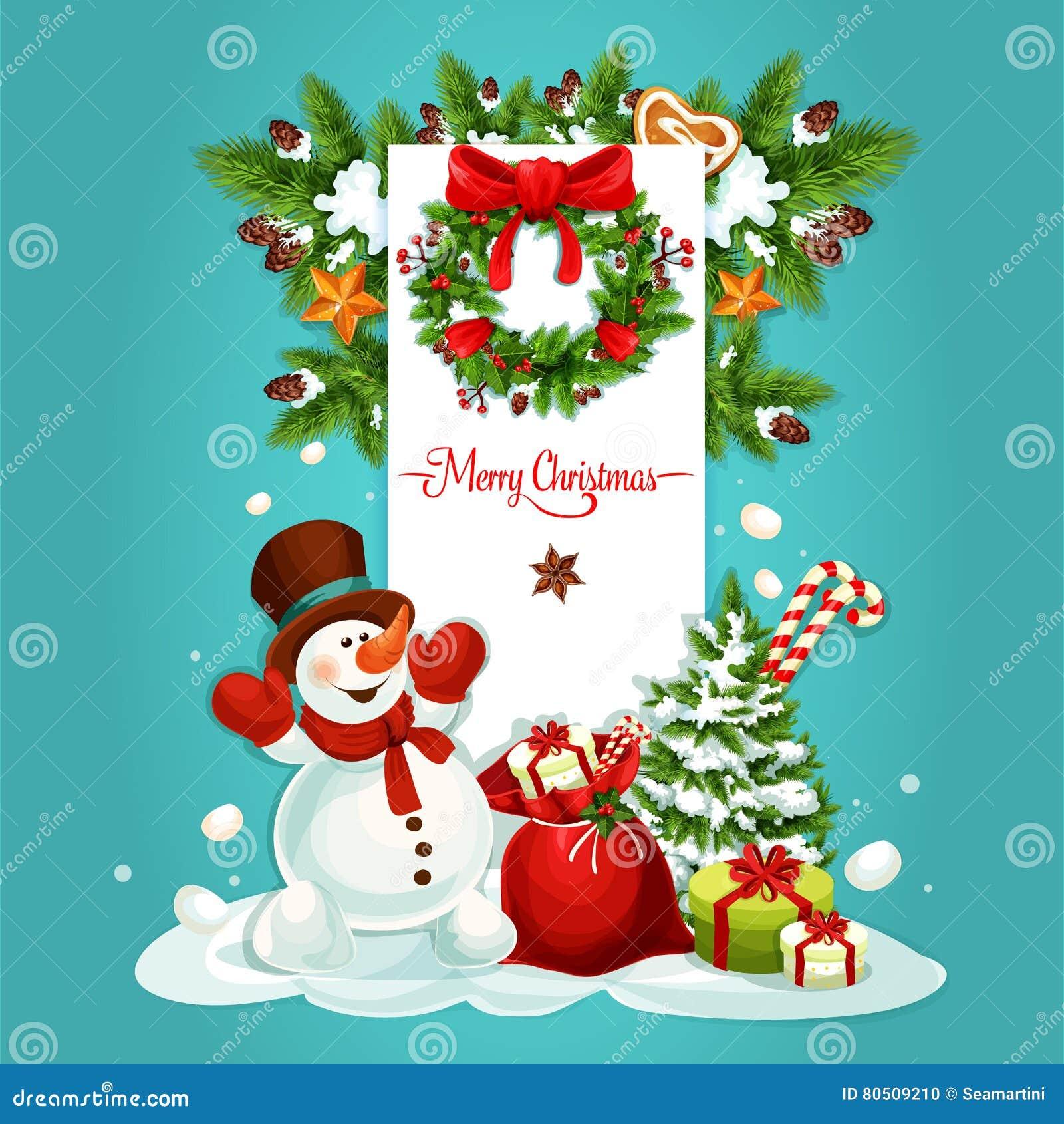 Weihnachtsschneemann Mit Geschenkgruß-Kartendesign Vektor Abbildung ...