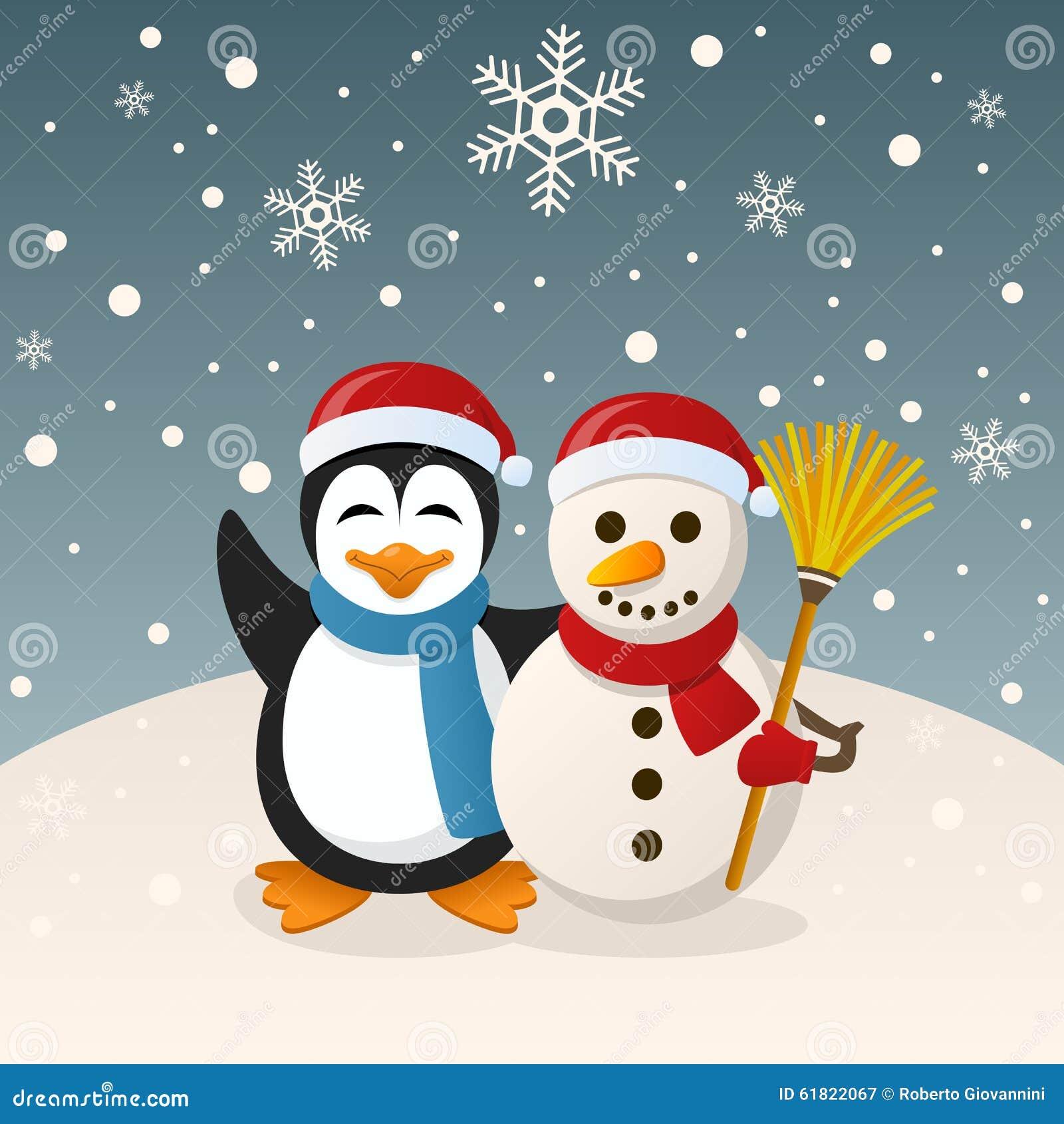 Weihnachtsschneemann Und -Pinguin Vektor Abbildung - Illustration ...
