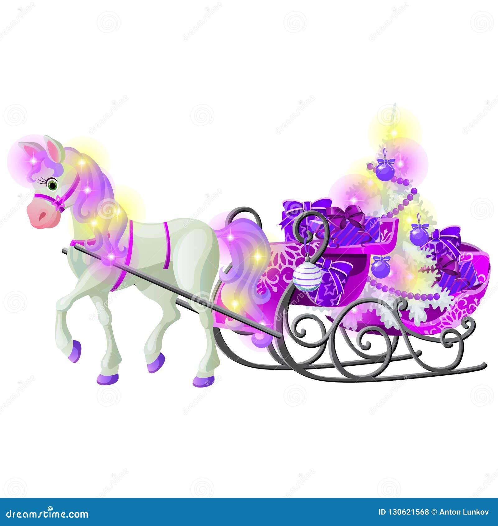 Weihnachtsskizze mit lebhaftem Pferd mit einer rosa Mähne und den Hufen mit einem Pferdeschlitten gefüllt mit Geschenkboxen und F