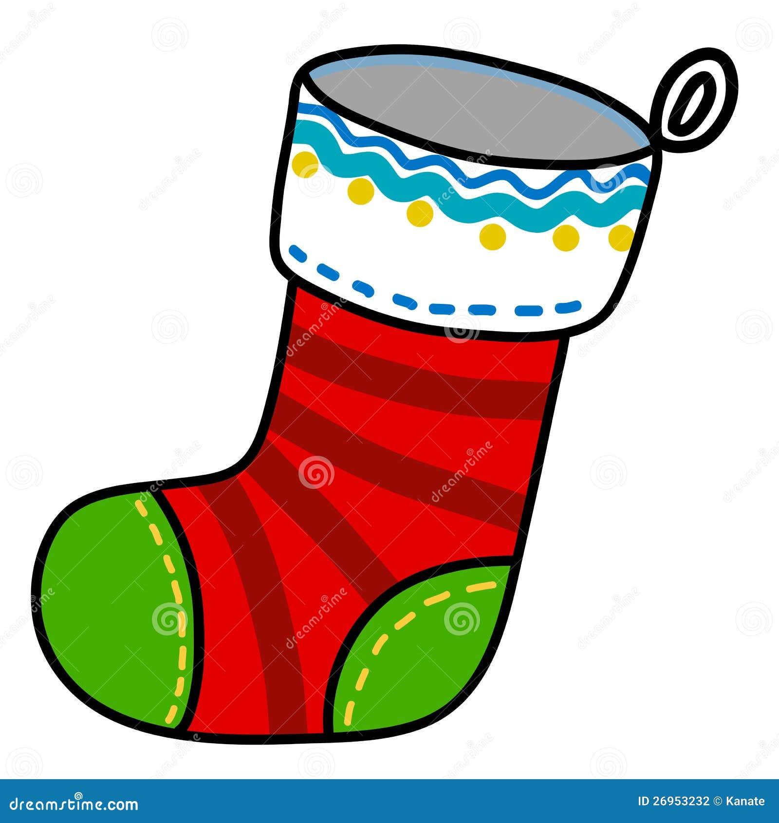 Weihnachtssockenkarikatur. vektor abbildung. Illustration von ...