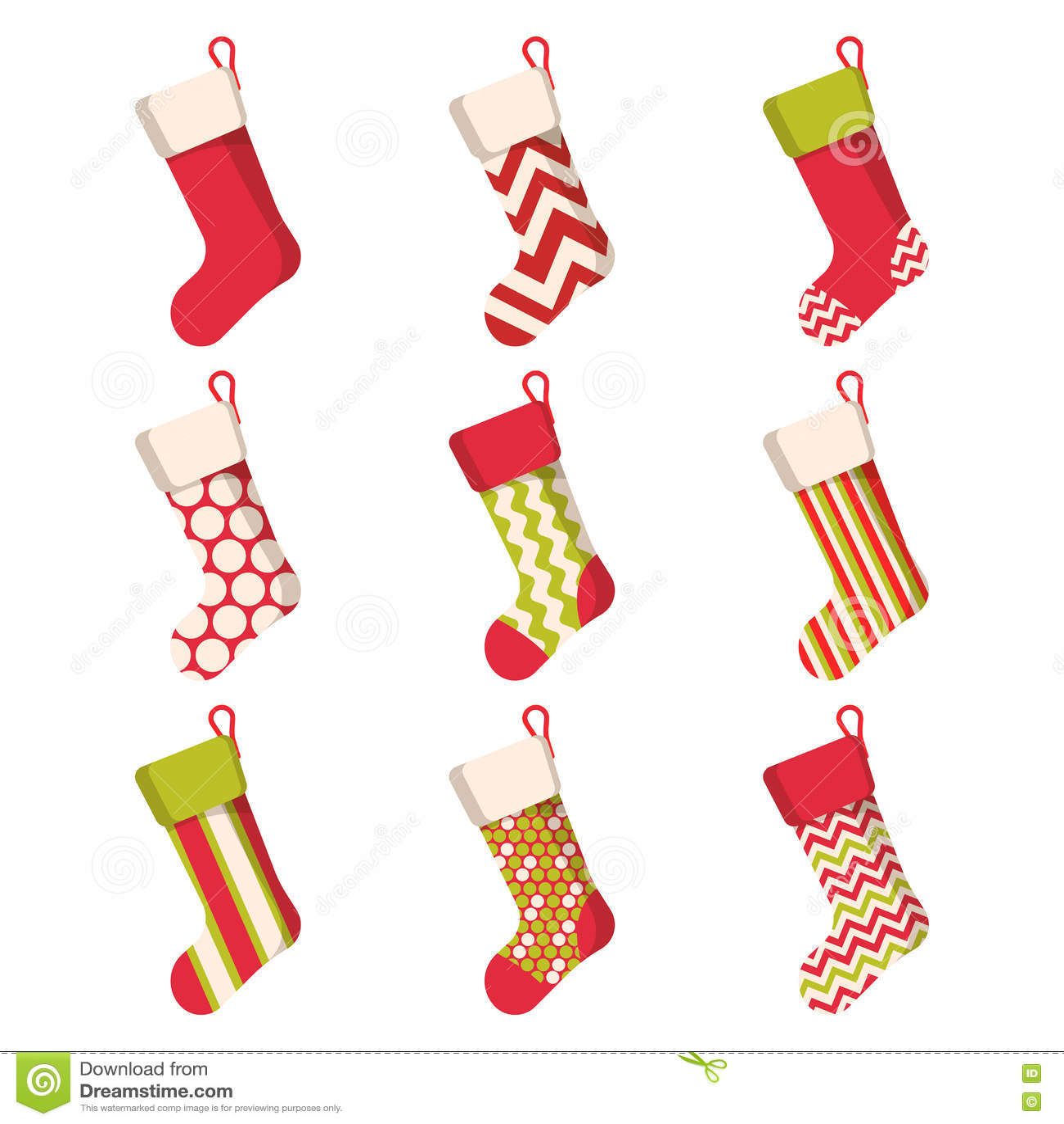 Weihnachtsstrumpf Eingestellt Auf Weißen Hintergrund Feiertags-Santa ...