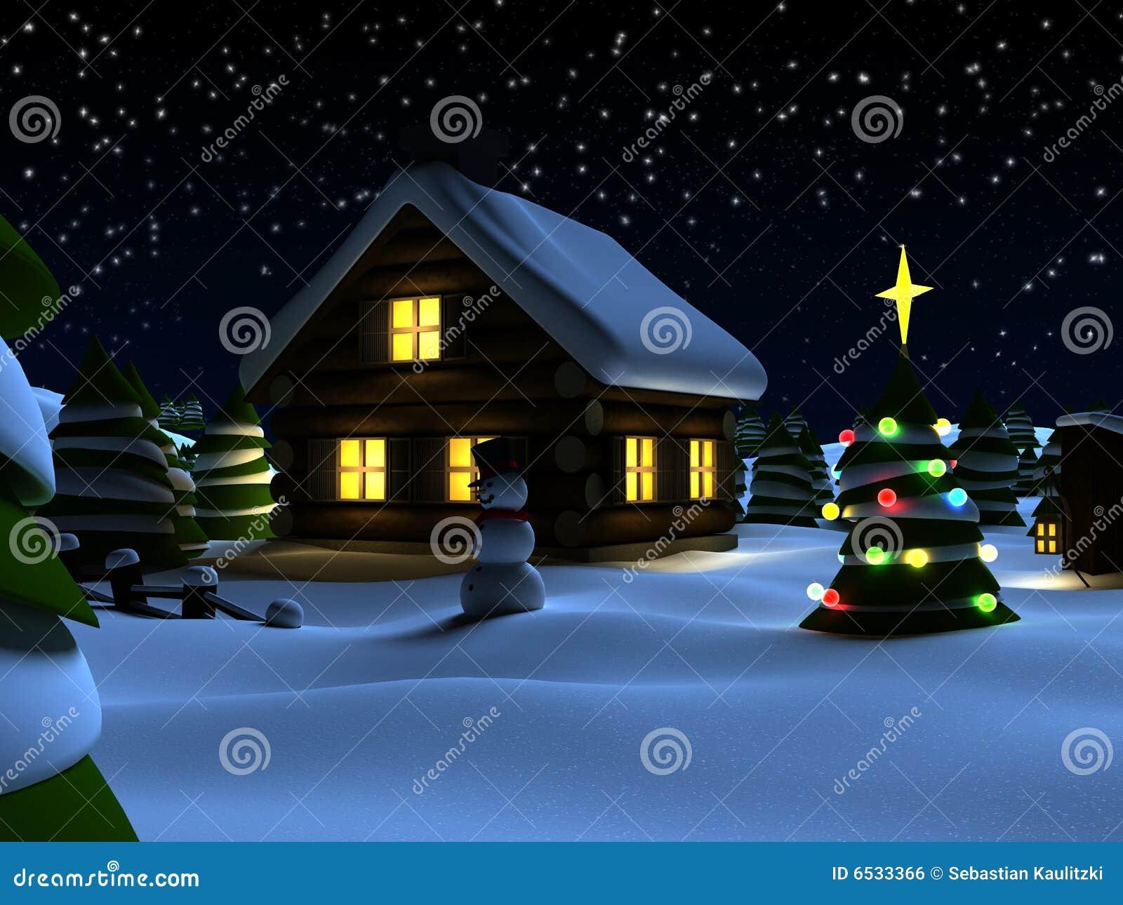 Weihnachtsszene stock abbildung. Illustration von weihnachten - 6533366
