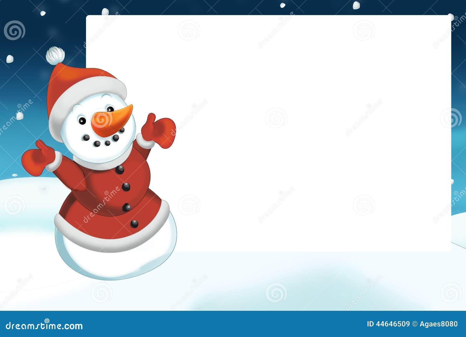 Weihnachtsszene Mit Schneemann - Rahmen Stock Abbildung ...