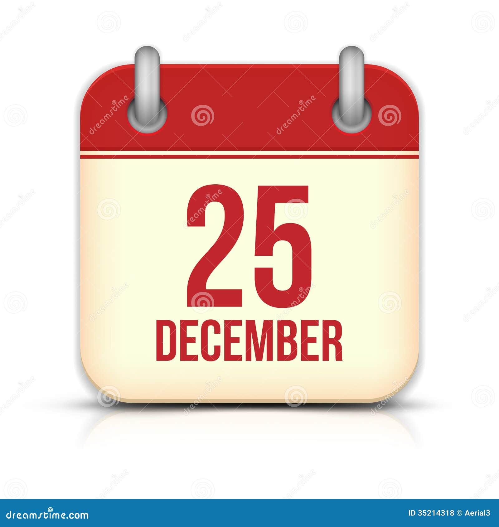 Weihnachtstageskalender-Ikone. Am 25. Dezember. Vektor