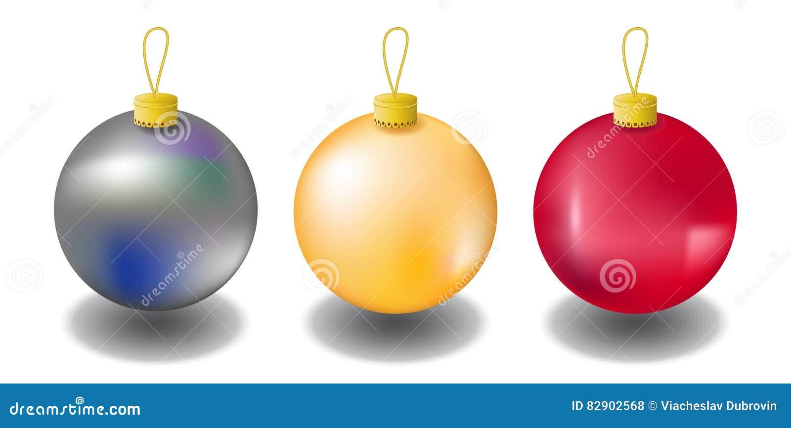 Christbaumkugeln Weiß Gold.Weihnachtstannenbaumverzierung Lokalisiert Auf Weiß Christbaumkugeln