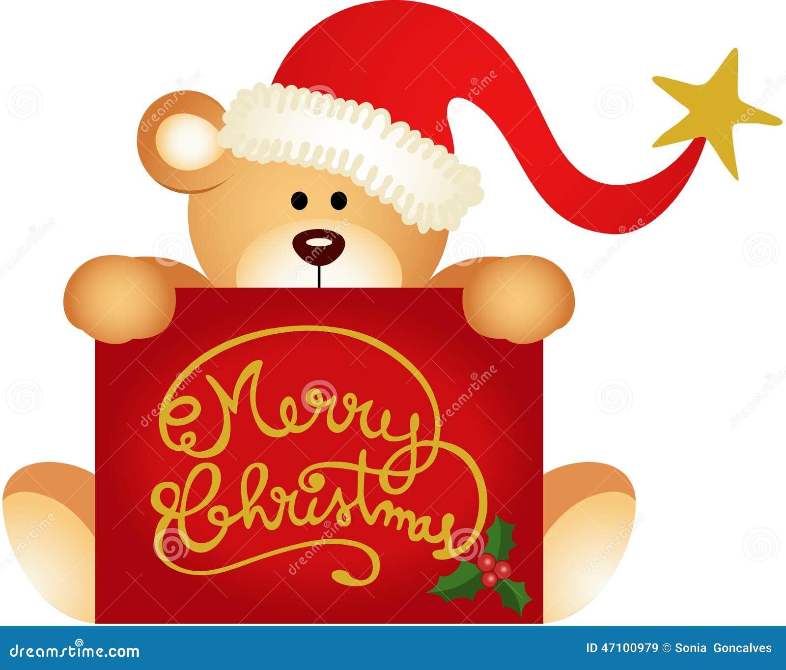 Weihnachtsteddybär, der frohen Weihnachten hält