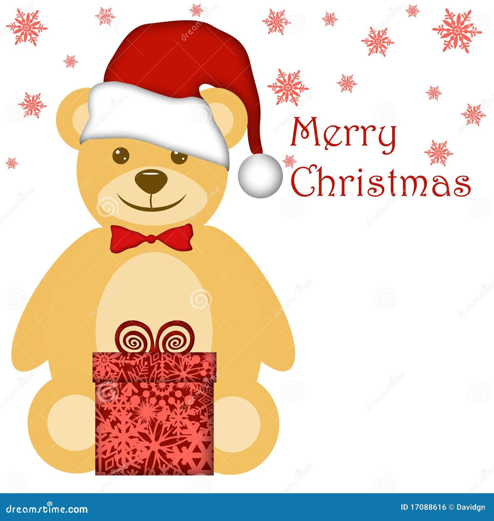 WeihnachtsTeddybär mit rotem Sankt-Hut