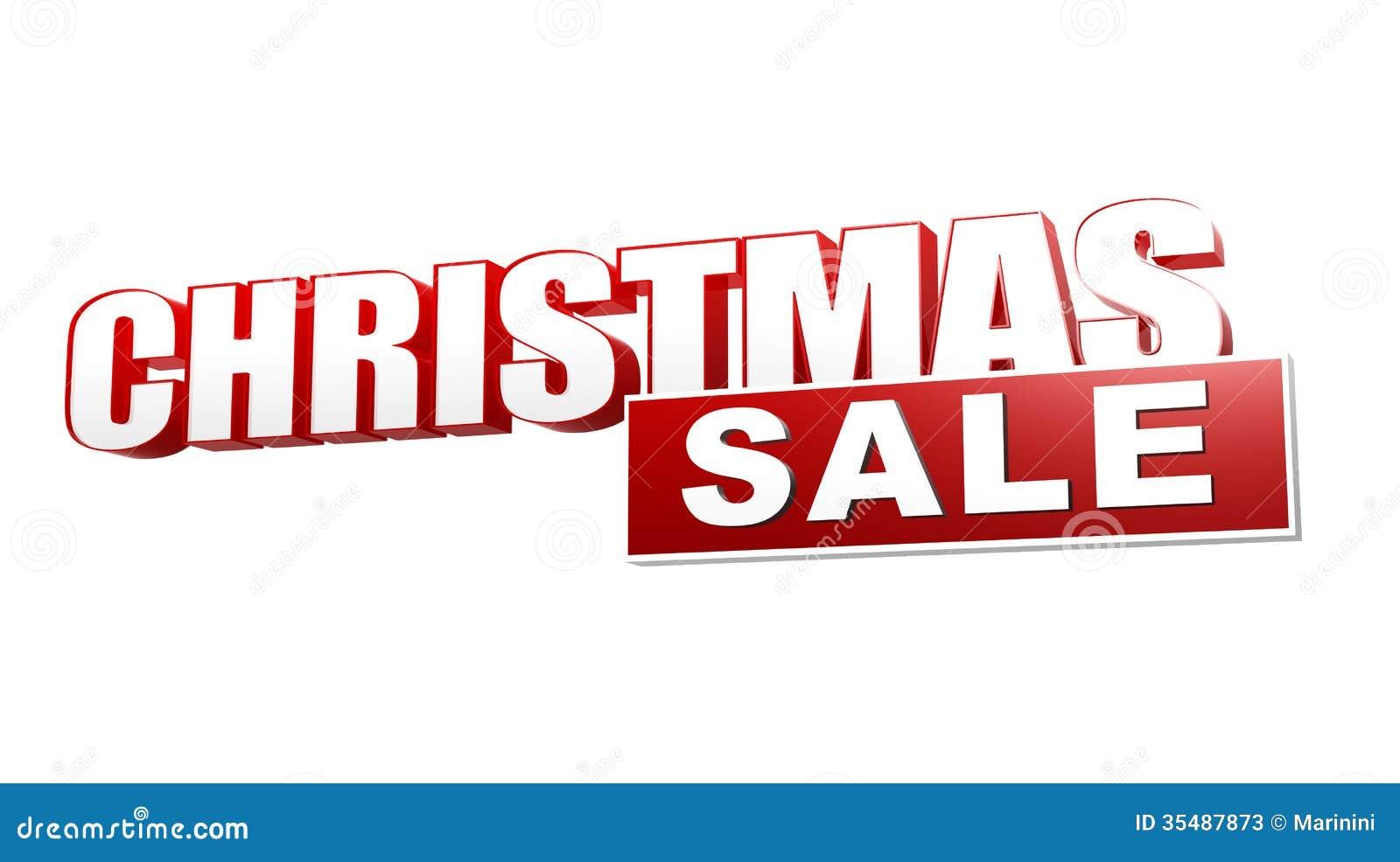 Weihnachtsverkauf In Den Roten Buchstaben 3d Und Im Block Stockbild ...