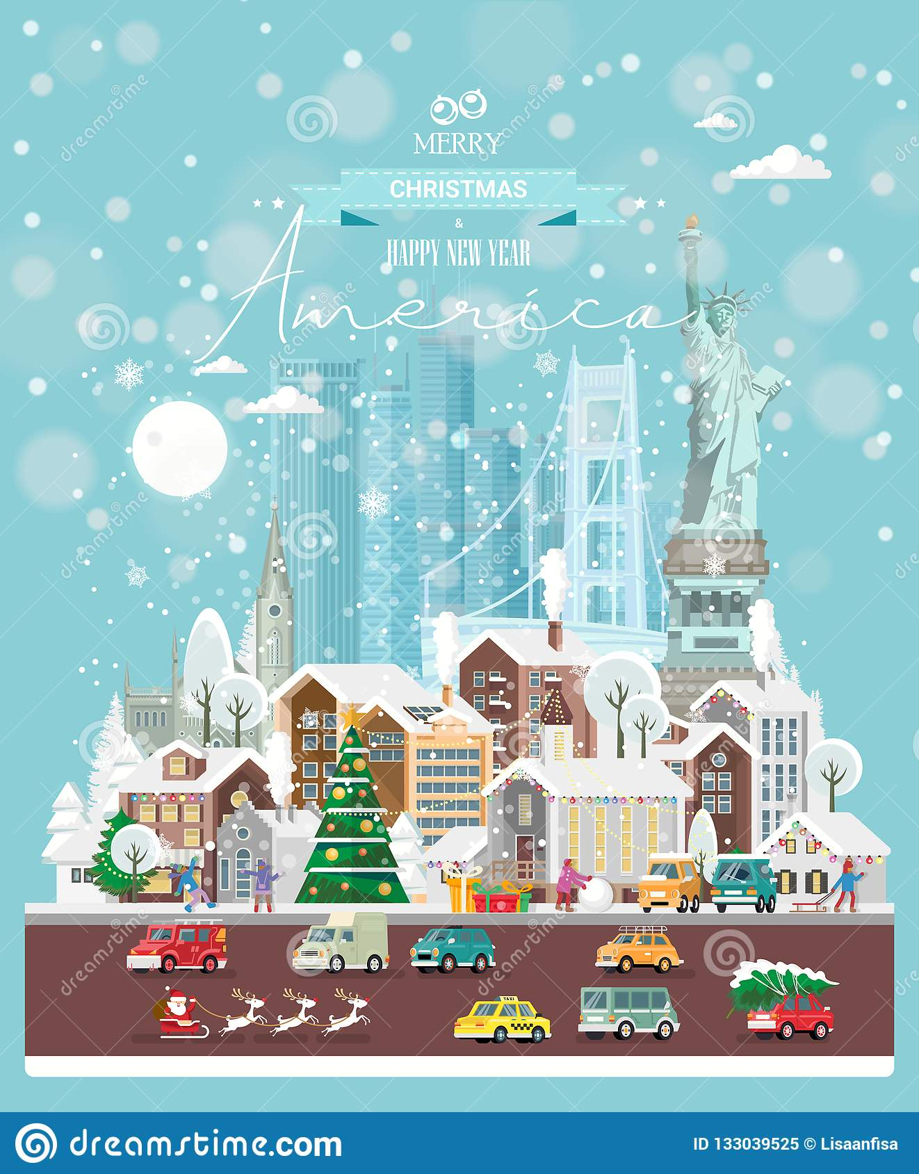 Neujahrs Und Weihnachtswünsche.Weihnachtswünsche Von Amerika Moderne Vektorgrußkarte In Der Flachen
