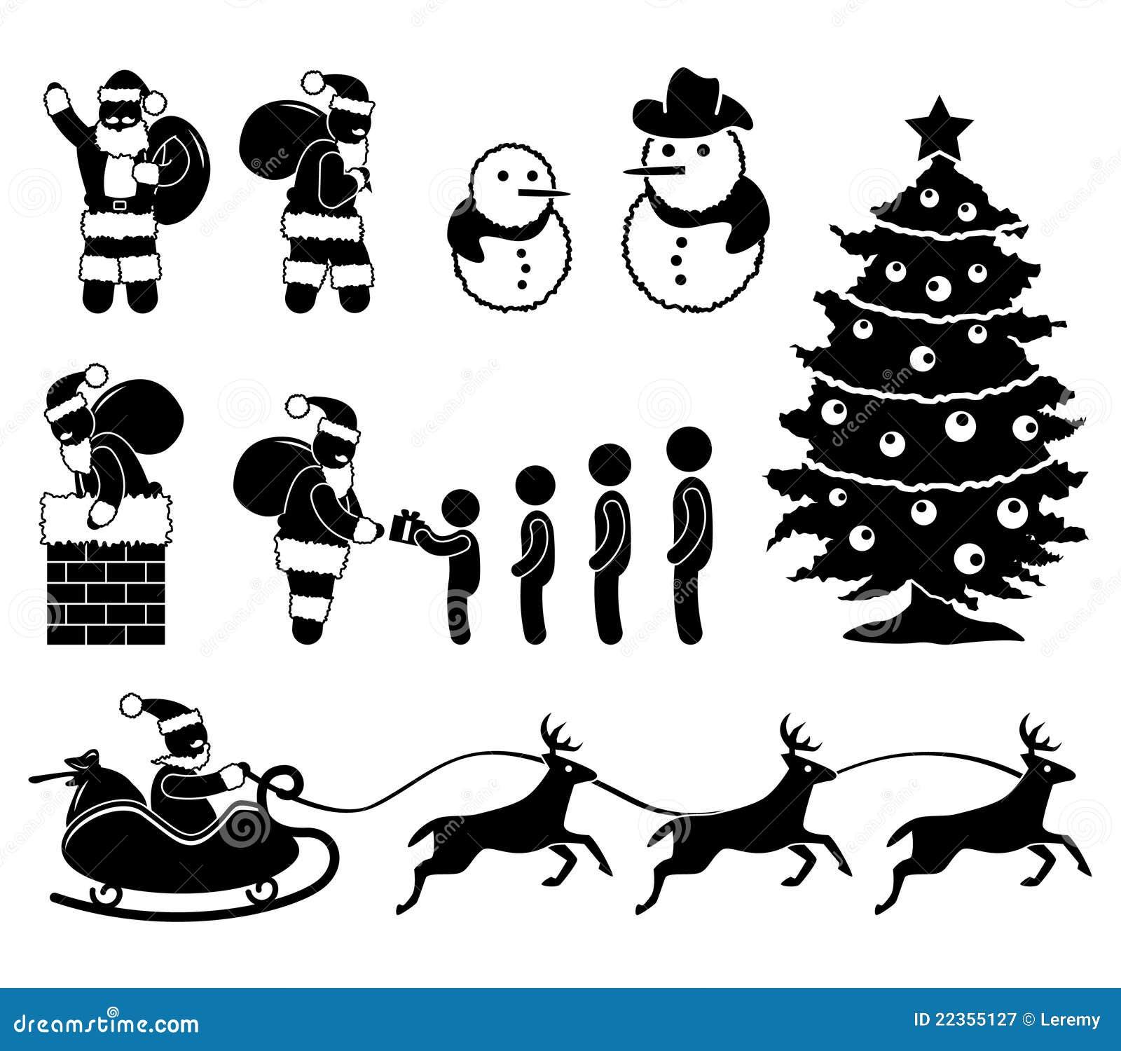 weihnachtsweihnachtsmann ren piktogramm vektor abbildung. Black Bedroom Furniture Sets. Home Design Ideas