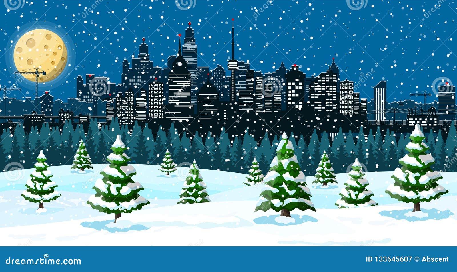 Weihnachtswinterstadtbild, -schneeflocken und -bäume