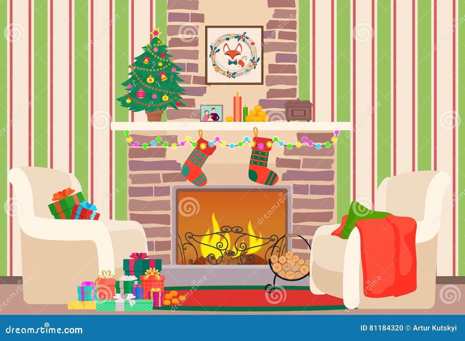 Weihnachtswohnzimmerflache Innenvektorillustration Baum Und Kamin ...