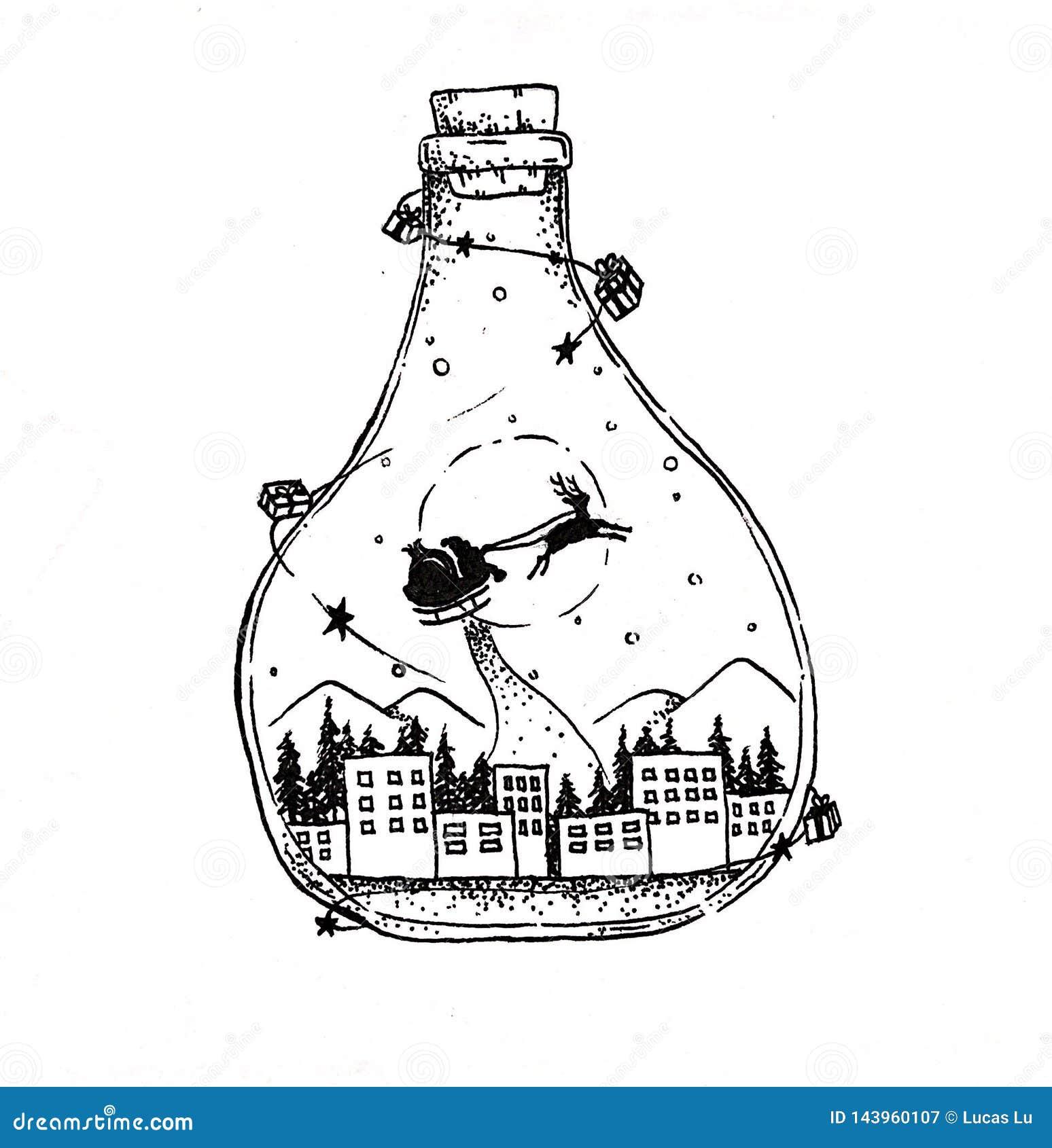 Weihnachtswunschflasche des Träumens