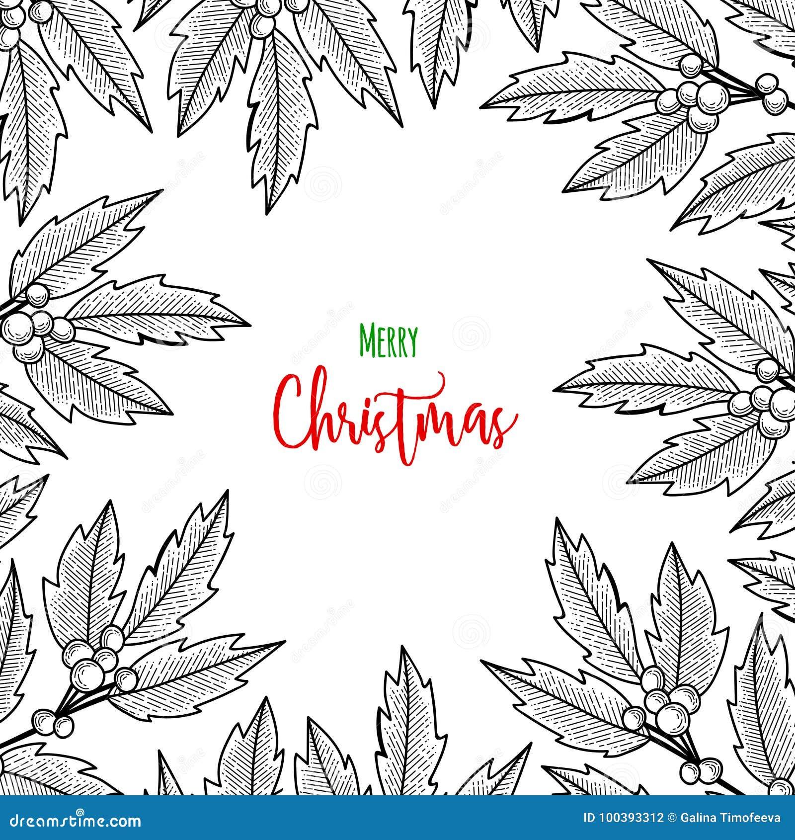 Weihnachtszweig der Stechpalmenbeere Illustration für Grußkarten, Einladungen und andere Druckprojekte