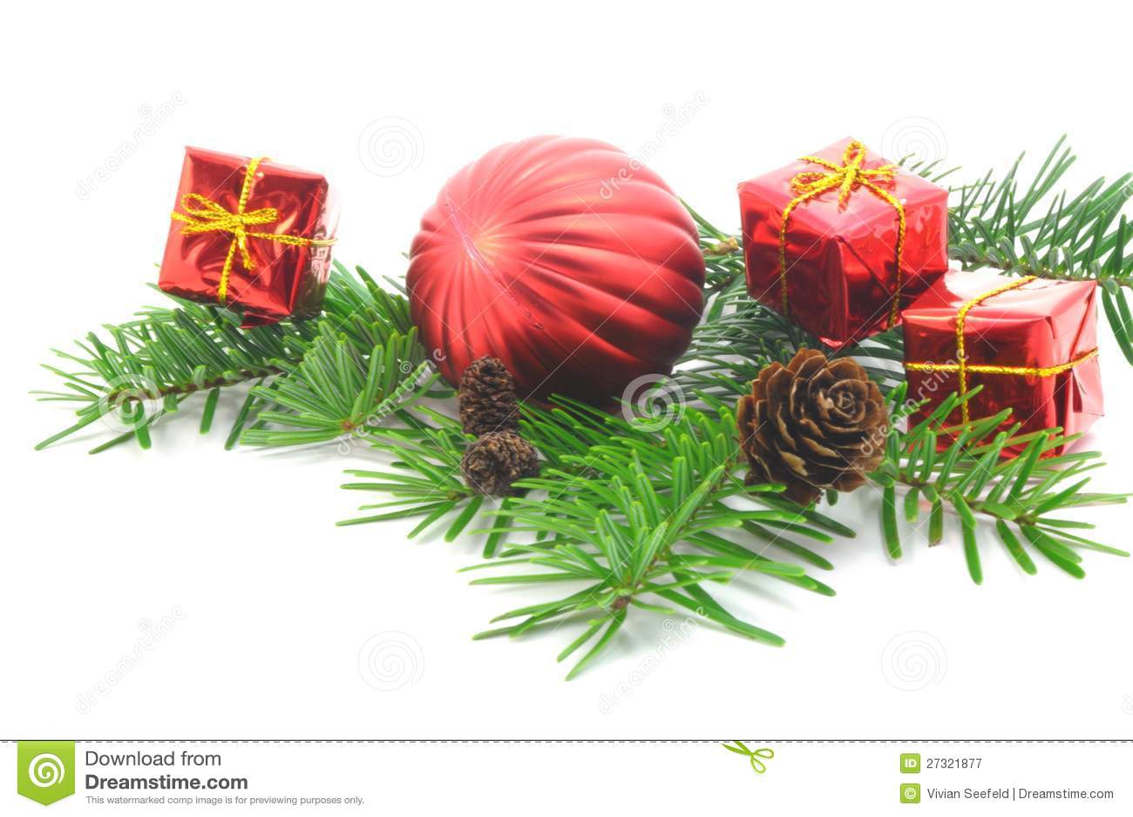 weihnachtszweig mit kugel stockbild bild von dekorativ 27321877. Black Bedroom Furniture Sets. Home Design Ideas