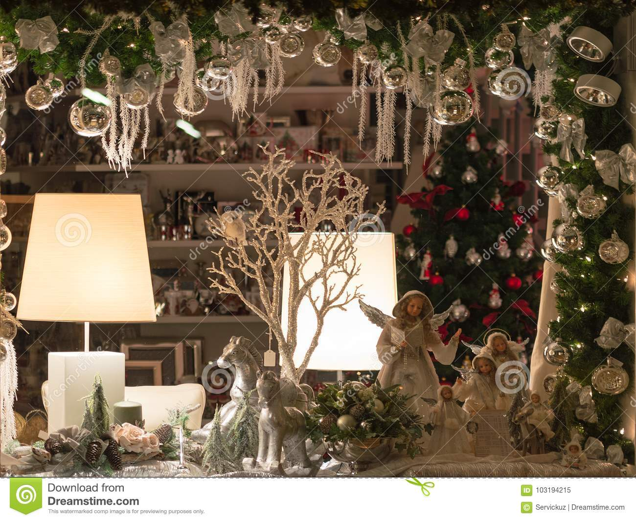 Christmas Shop-window Decoration With Traditional Porcelain ...