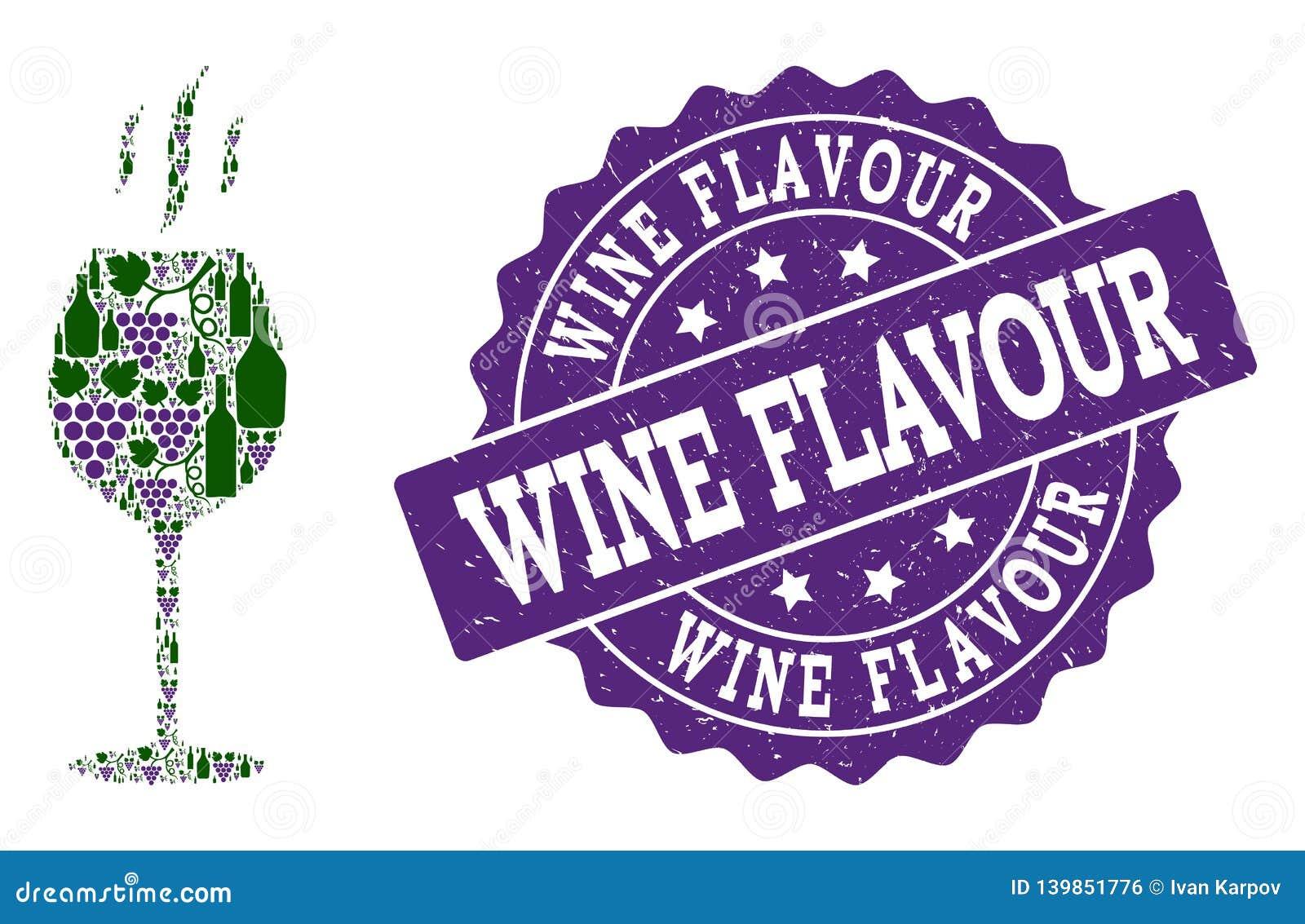 Wein-Aroma-Collage von Wein-Flaschen und von Traube und von Schmutz-Stempel