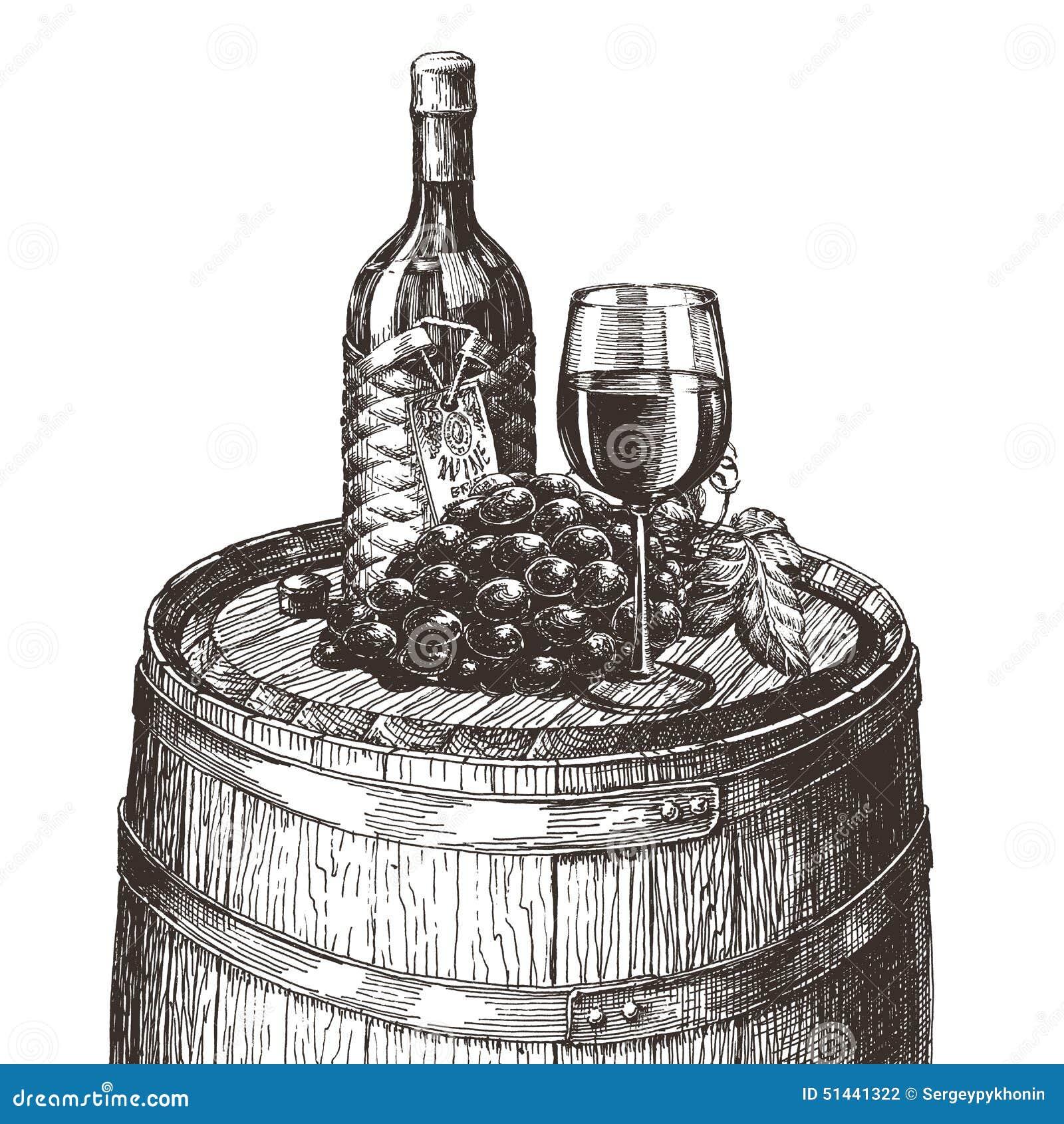 Wein Auf Einem Weißen Hintergrund Skizze Stock Abbildung ...