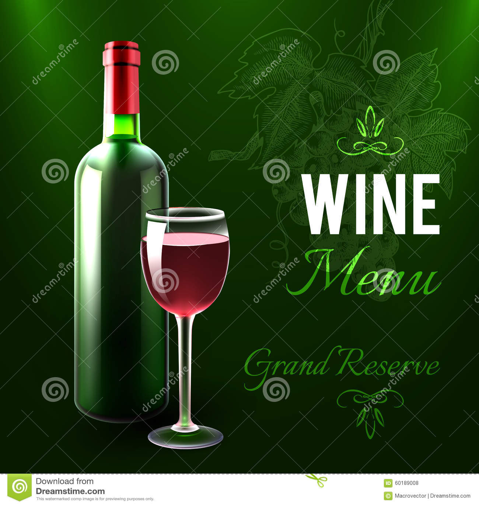 Wein-Menü-Schablone vektor abbildung. Illustration von flasche ...