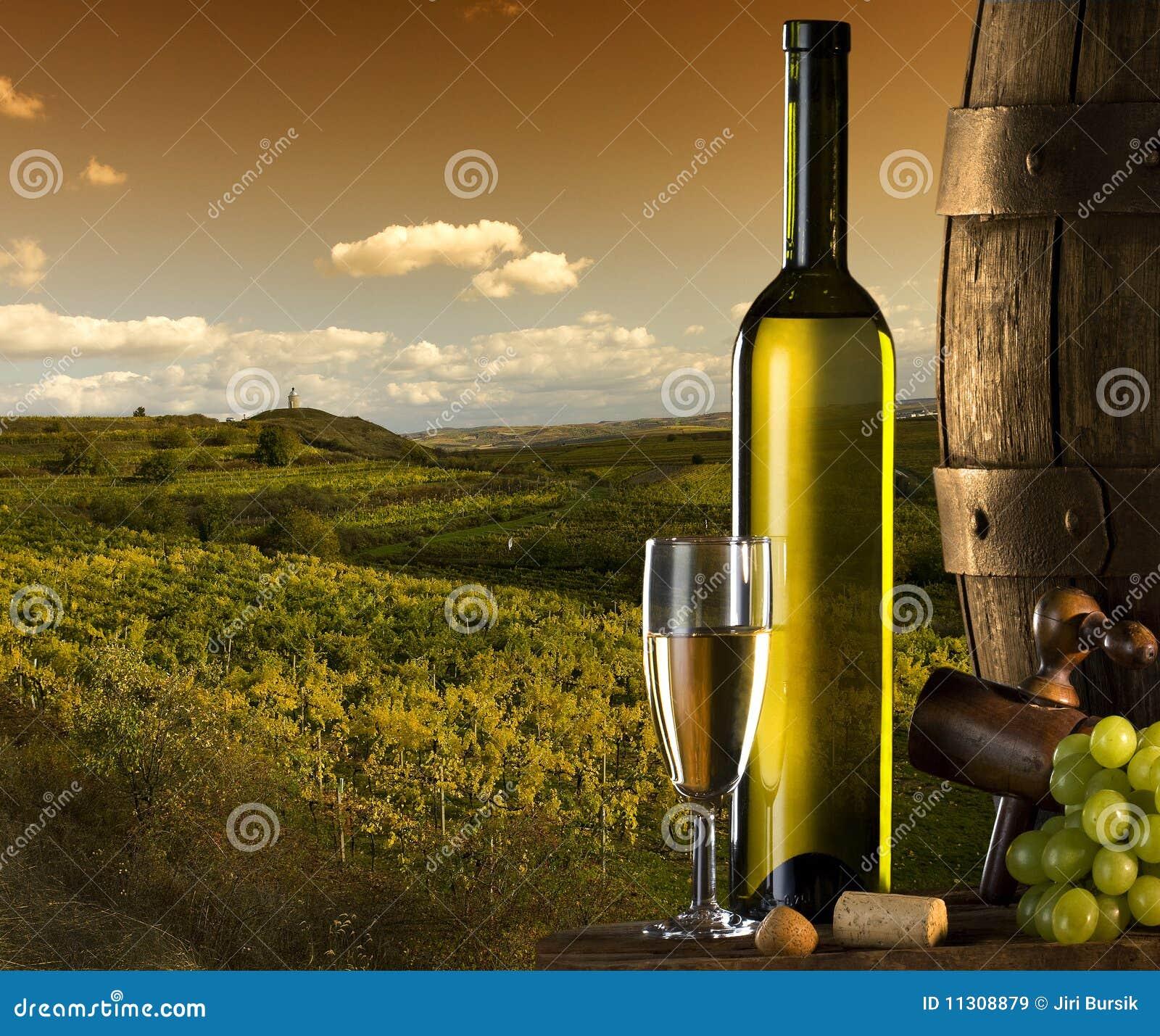 Wein mit Weinberg auf dem Hintergrund