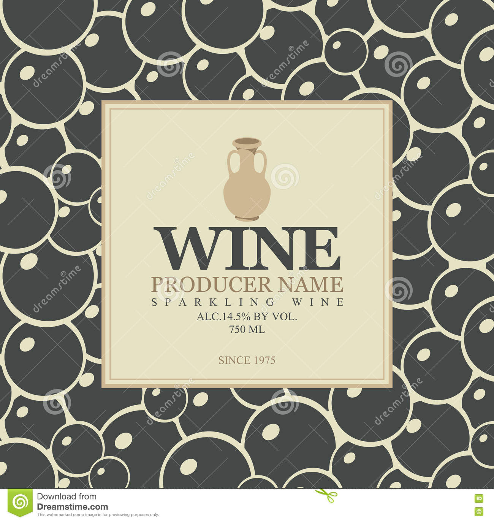 Weinaufkleber mit einem Lehmkrug