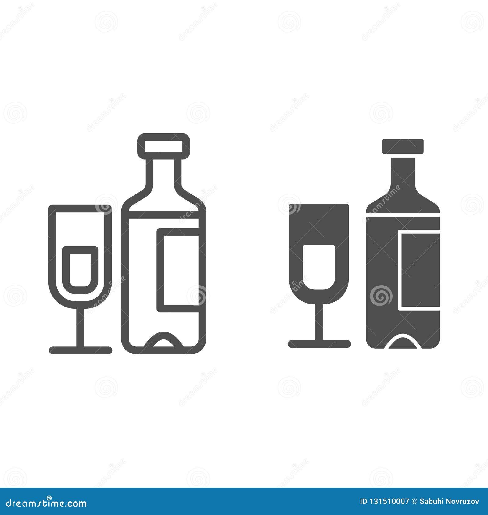 Weinflasche und Glaslinie und Glyphikone Sektflasche mit der Glasvektorillustration lokalisiert auf Weiß alcohol