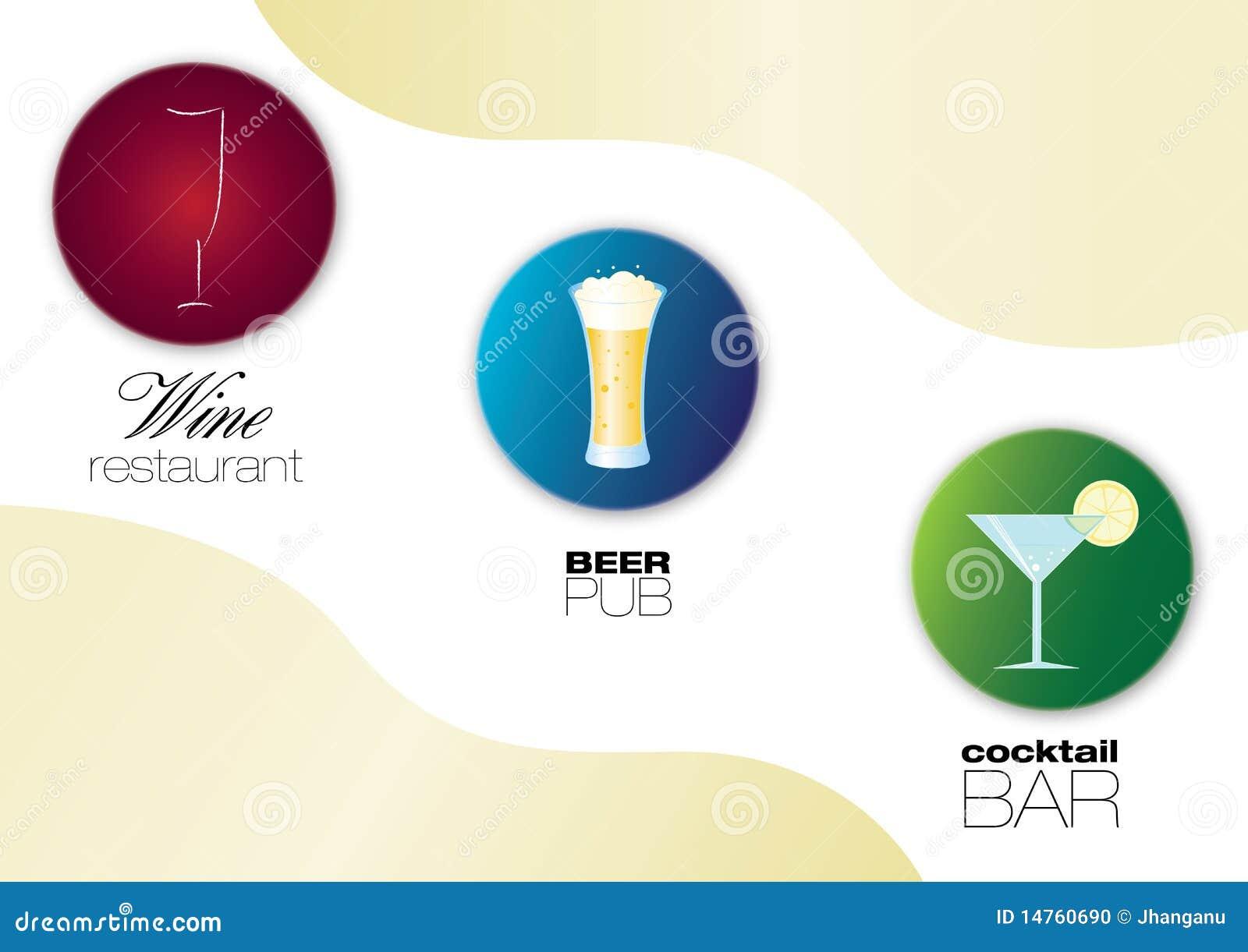 Weingaststätte, Bier Pub und Cocktail halten Ikonen ab
