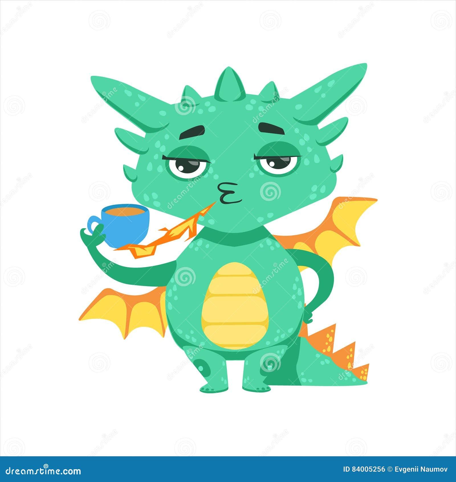 Weinig Anime-van het de Brandbeeldverhaal van Dragon Warming Up Tea With van de Stijlbaby Illustratie van het Karakteremoji
