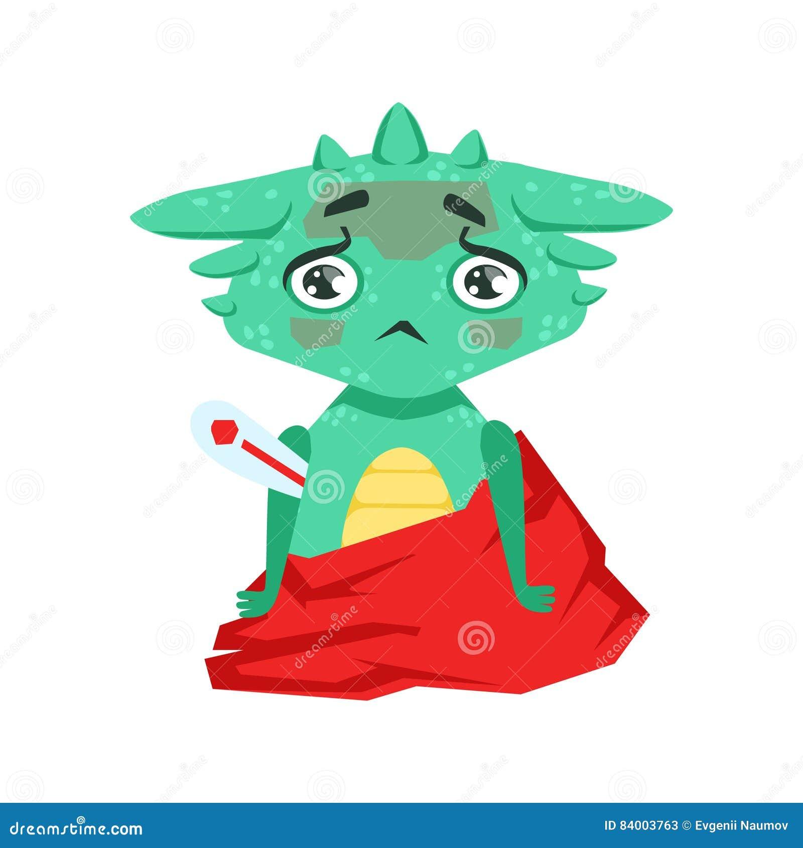 Weinig Anime-van het het Beeldverhaalkarakter van Dragon With Fever Feeling Sick van de Stijlbaby Illustratie van Emoji